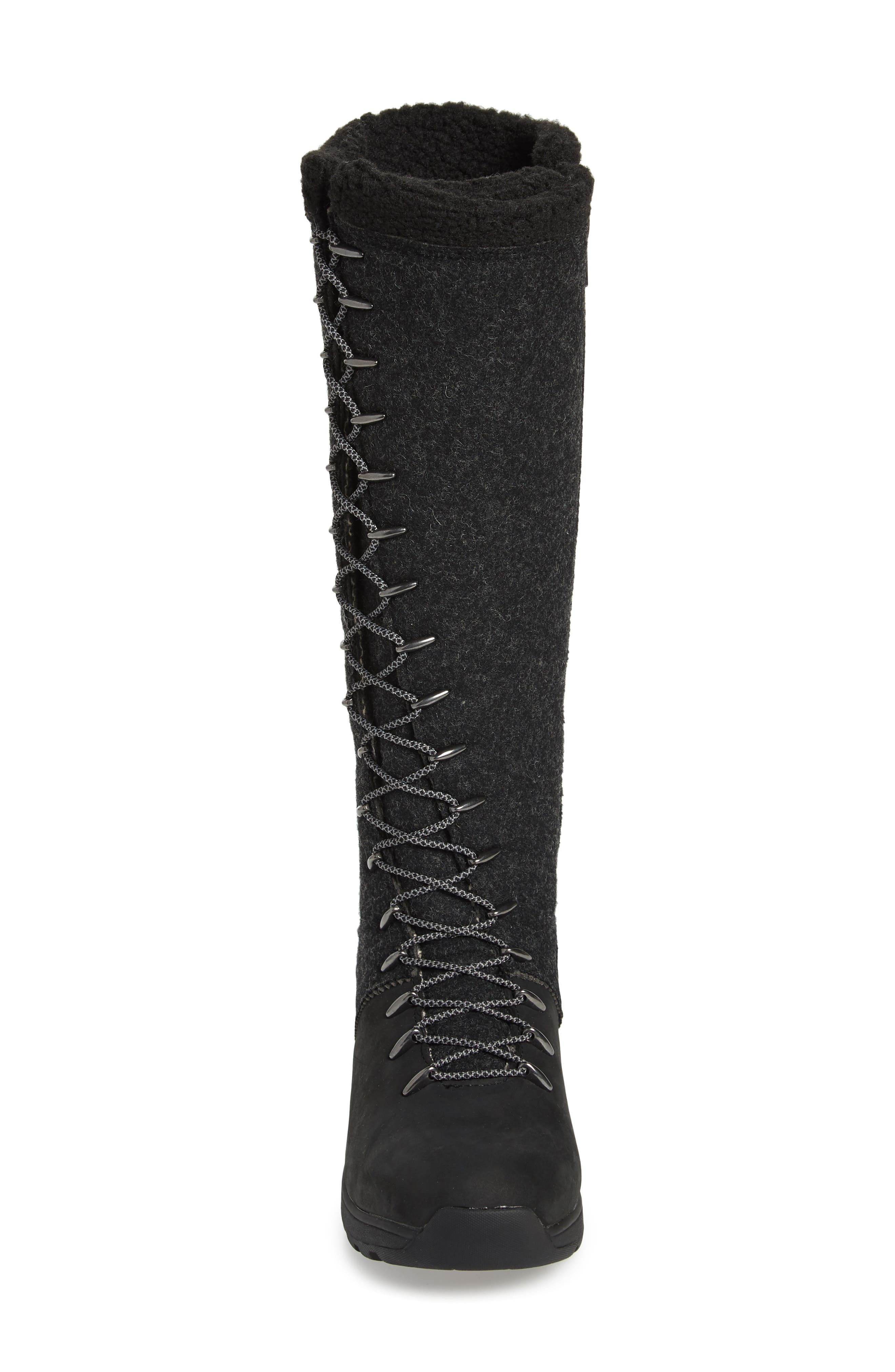 Crazy Rockies III Lace-Up Knee High Boot,                             Alternate thumbnail 3, color,                             BLACK WOOL