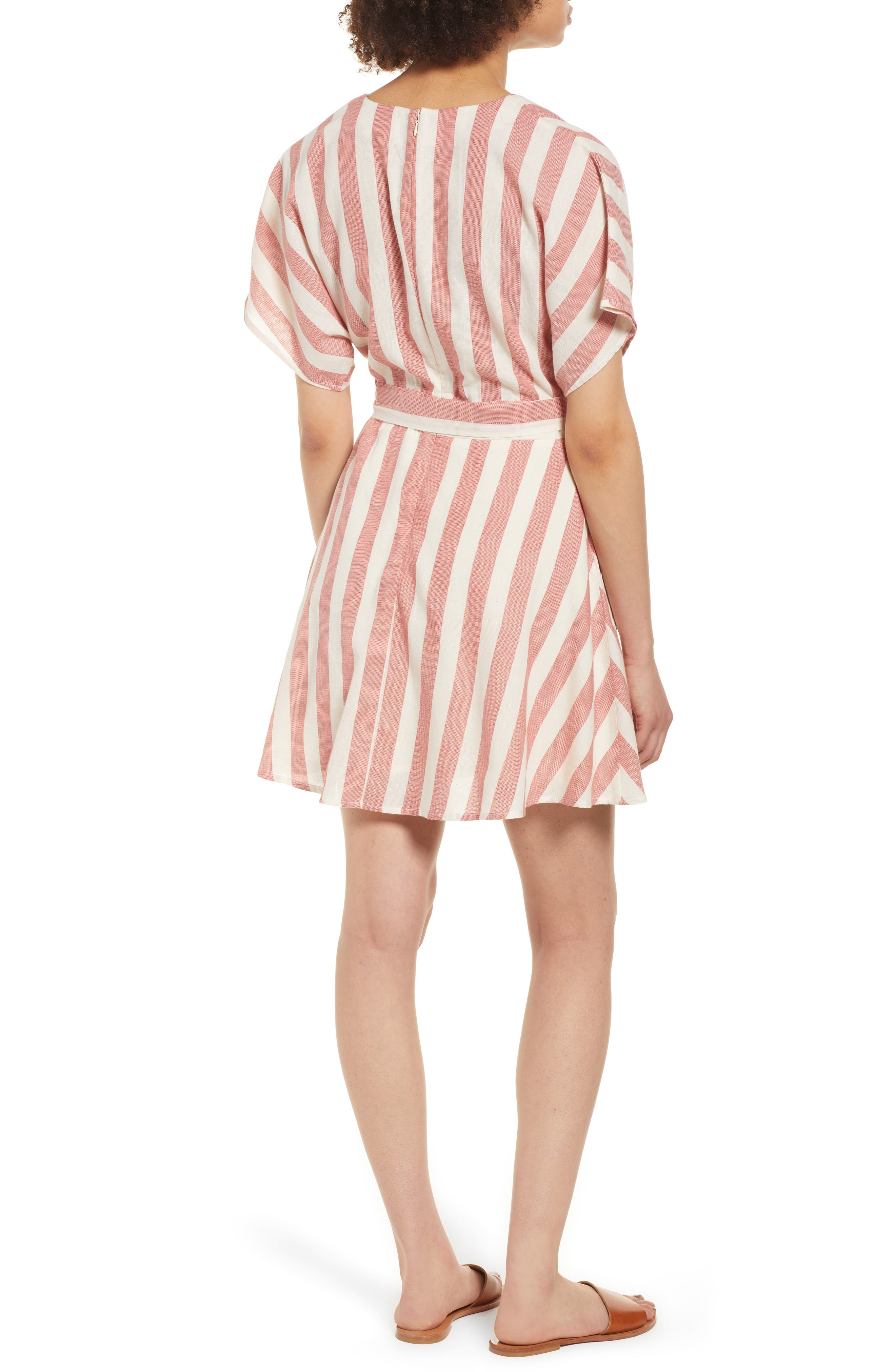 Stripe Cotton Wrap Dress,                             Alternate thumbnail 2, color,                             RED STRIPE