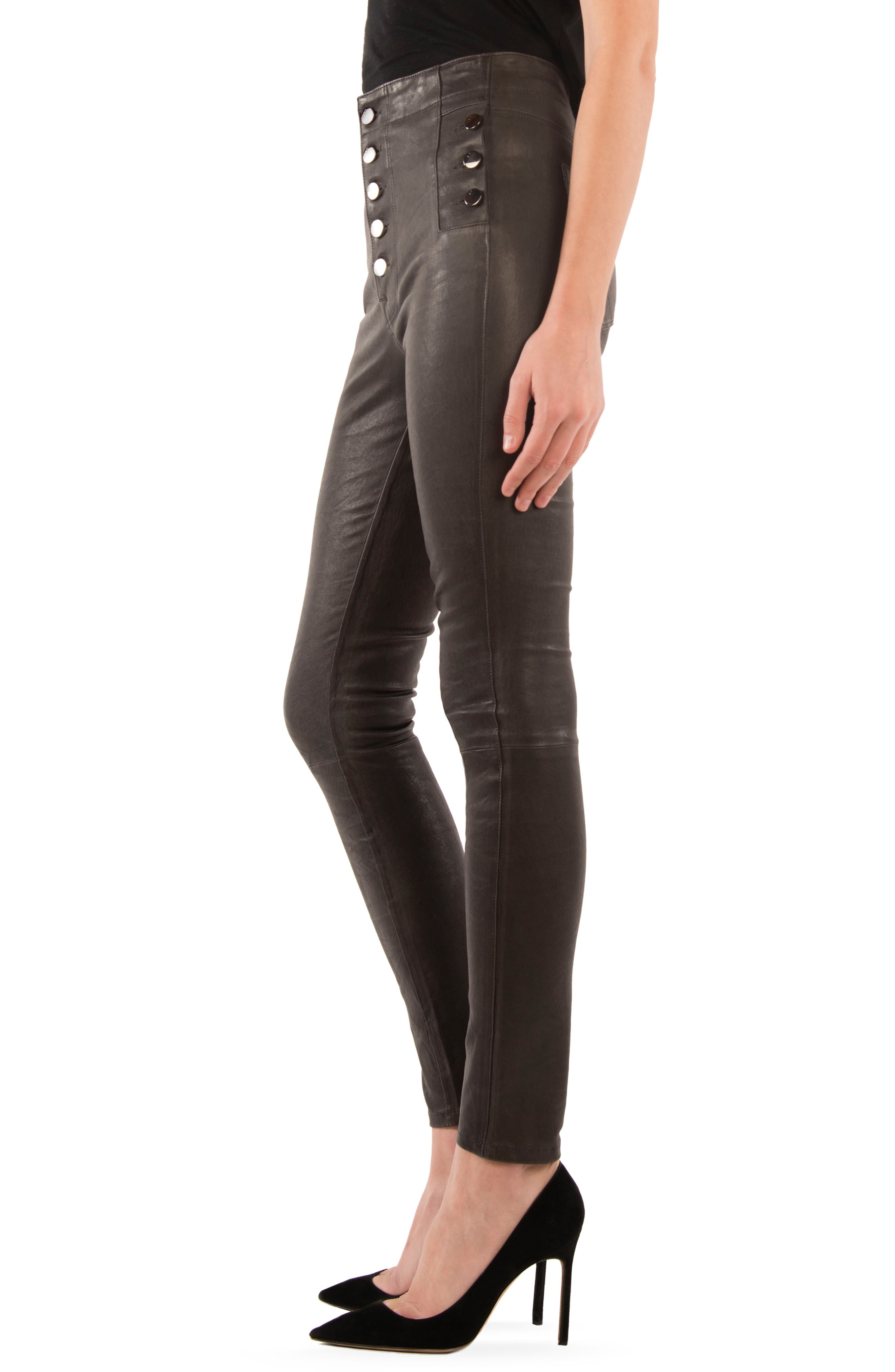 Natasha High Waist Skinny Leather Pants,                             Alternate thumbnail 3, color,                             039