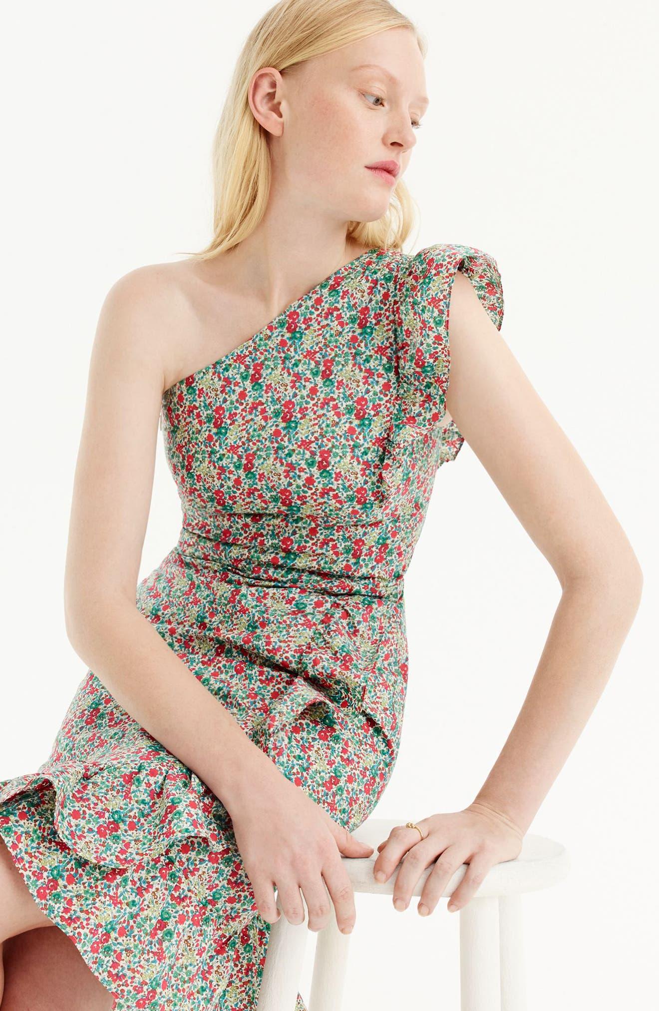 Asymmetrical Liberty<sup>®</sup> Ruffle Dress,                             Alternate thumbnail 4, color,                             600