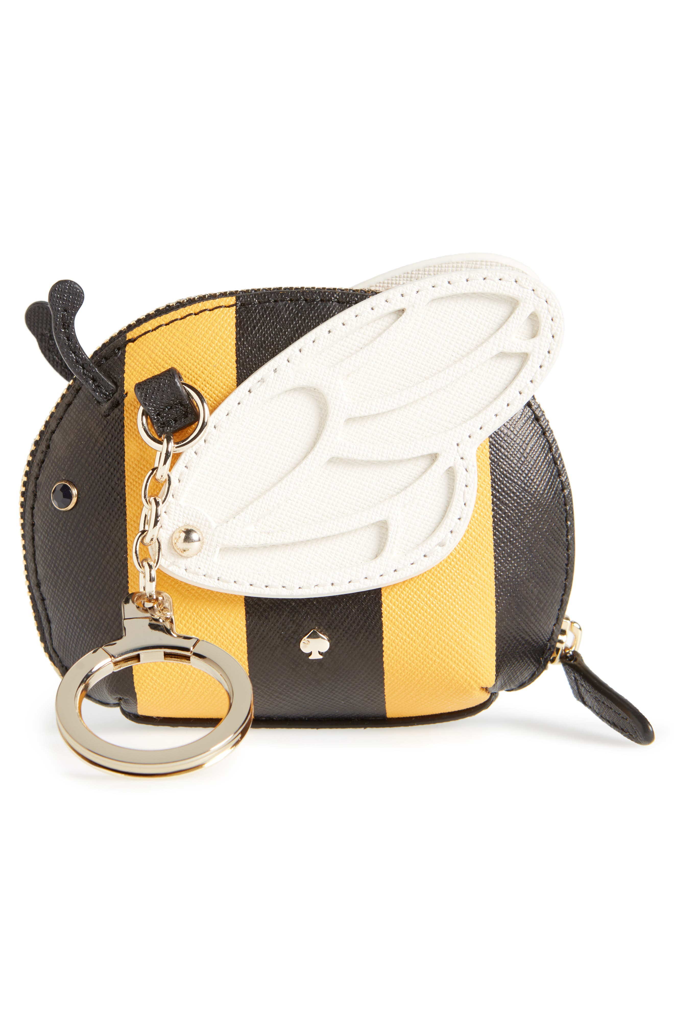 picnic perfect bee stripe leather coin purse,                             Alternate thumbnail 3, color,