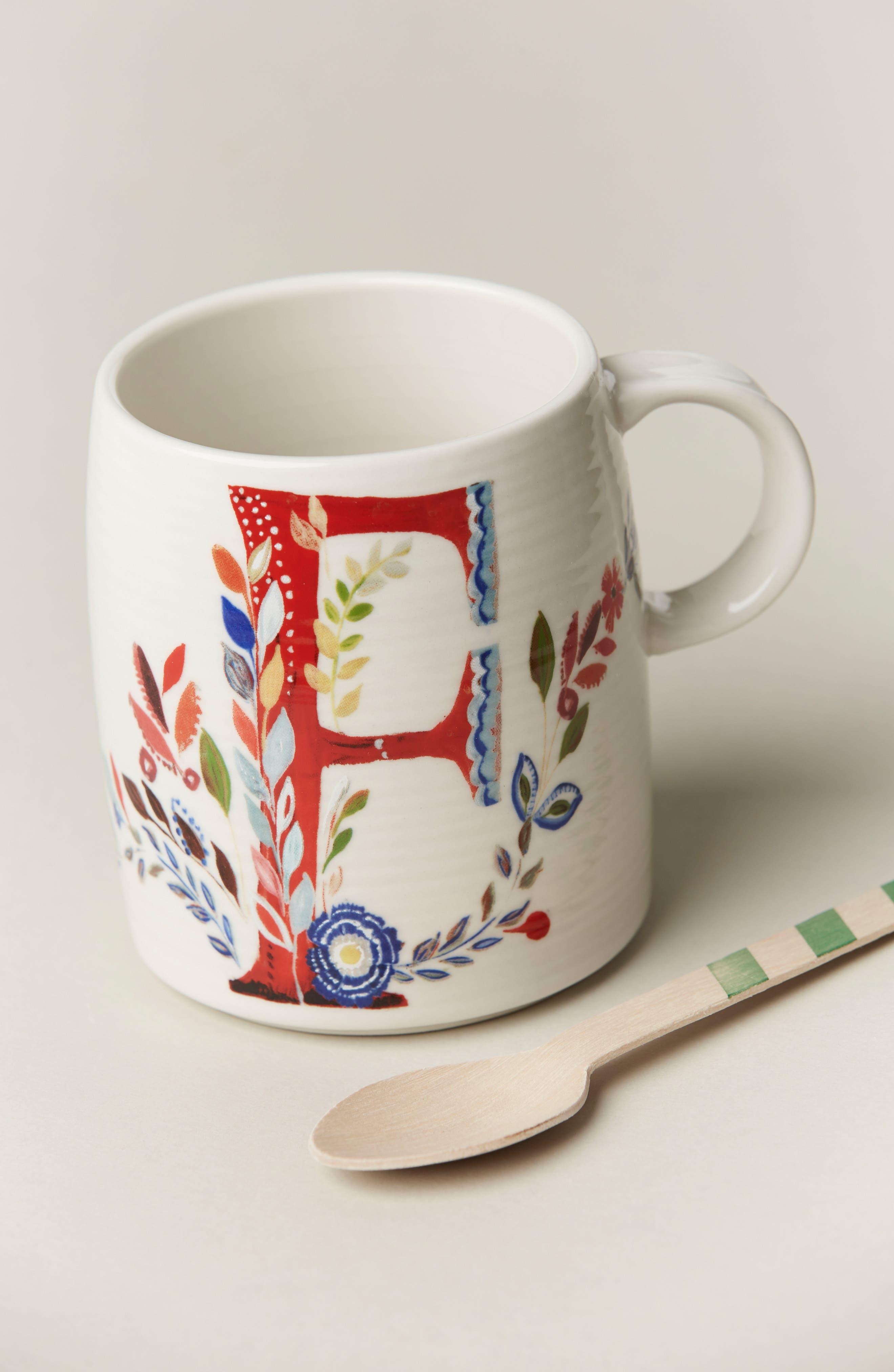 ANTHROPOLOGIE,                             Petal Palette Monogram Mug,                             Alternate thumbnail 2, color,                             PINK - F