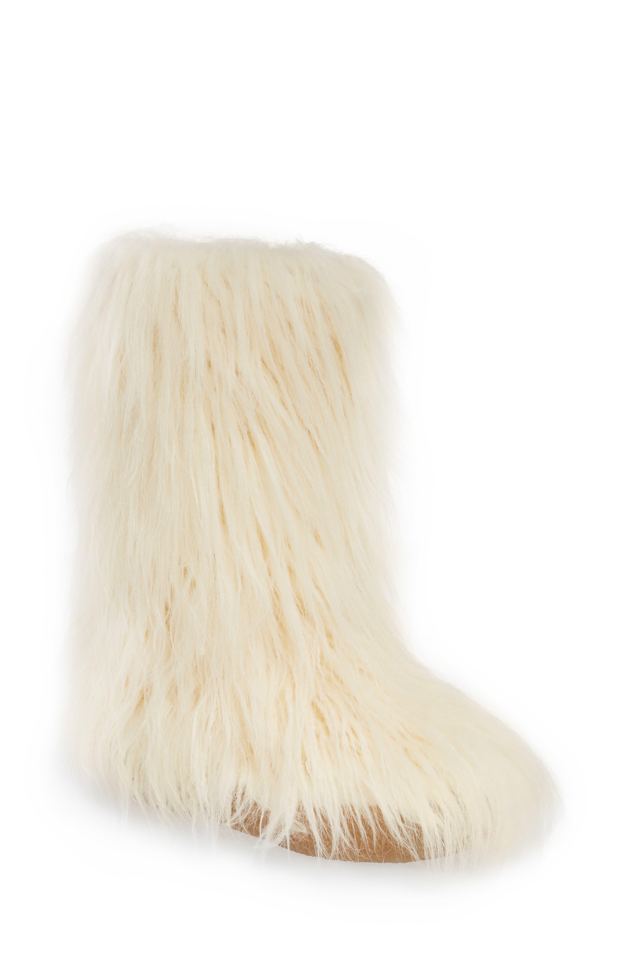Faux Fur Bootie in Ivory Faux Fur