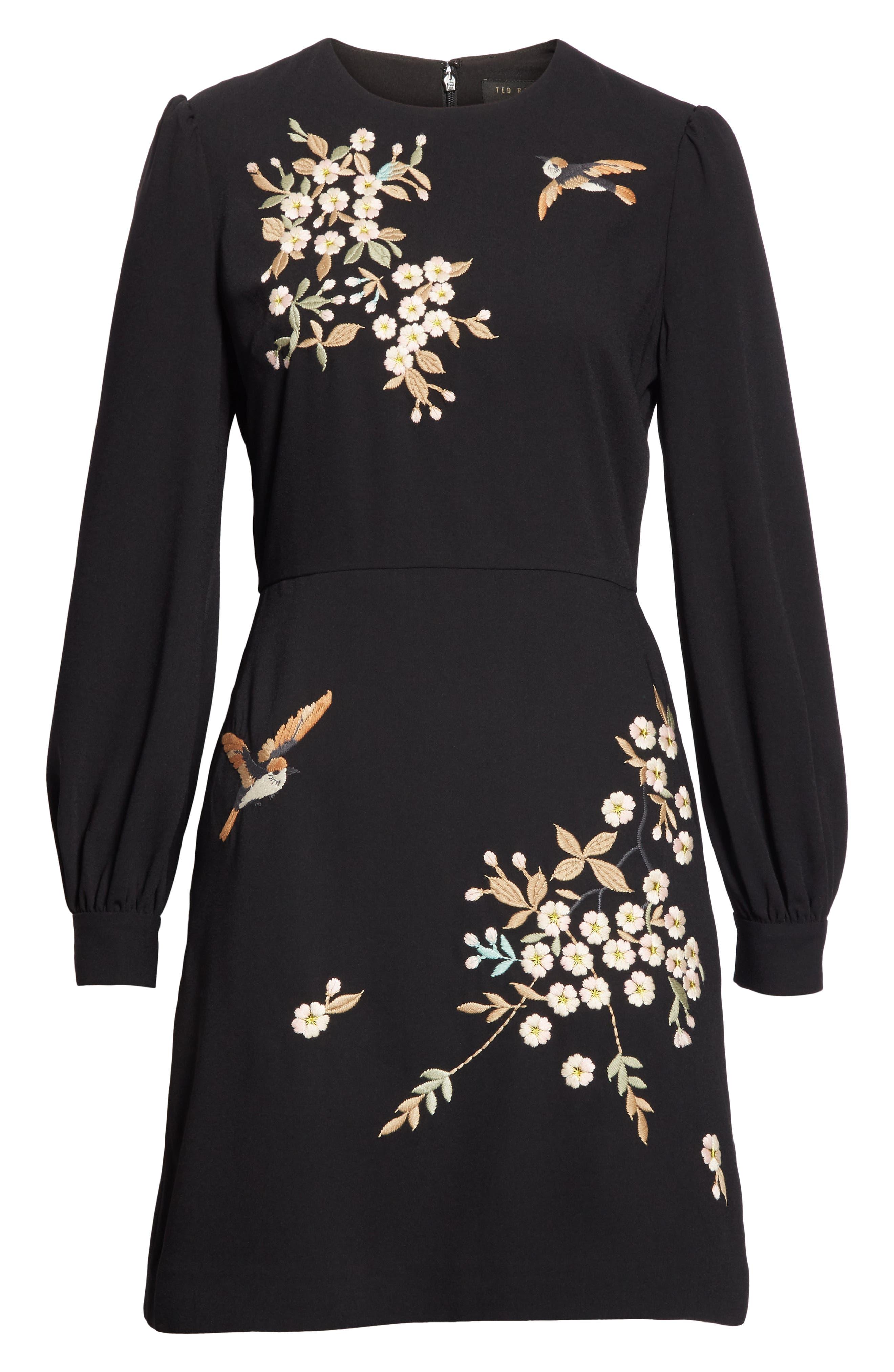 Lillien Graceful Embroidered Detail Dress,                             Alternate thumbnail 6, color,                             BLACK