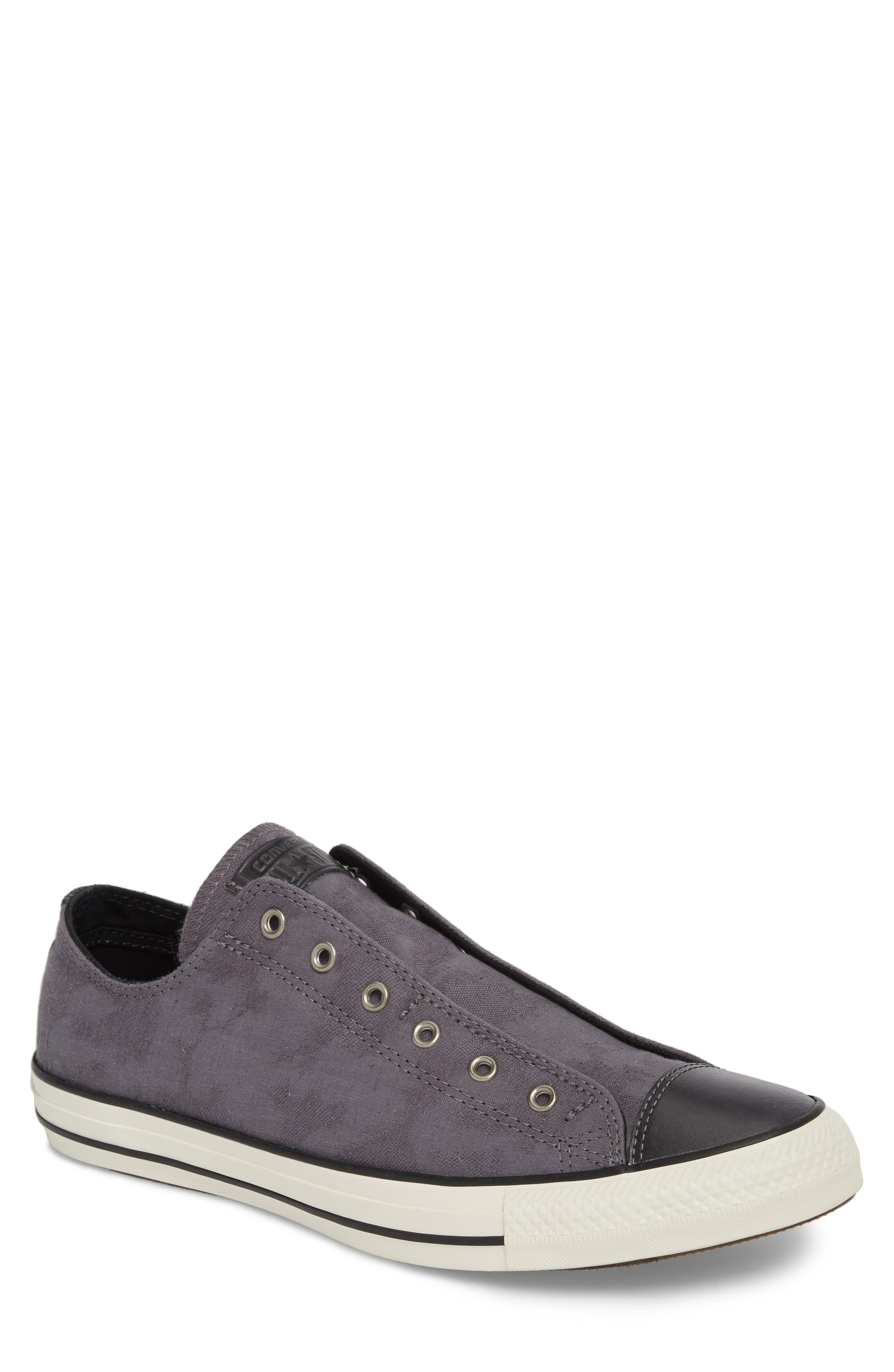 Chuck Taylor<sup>®</sup> All Star<sup>®</sup> Laceless Low Top Sneaker,                         Main,                         color, THUNDER