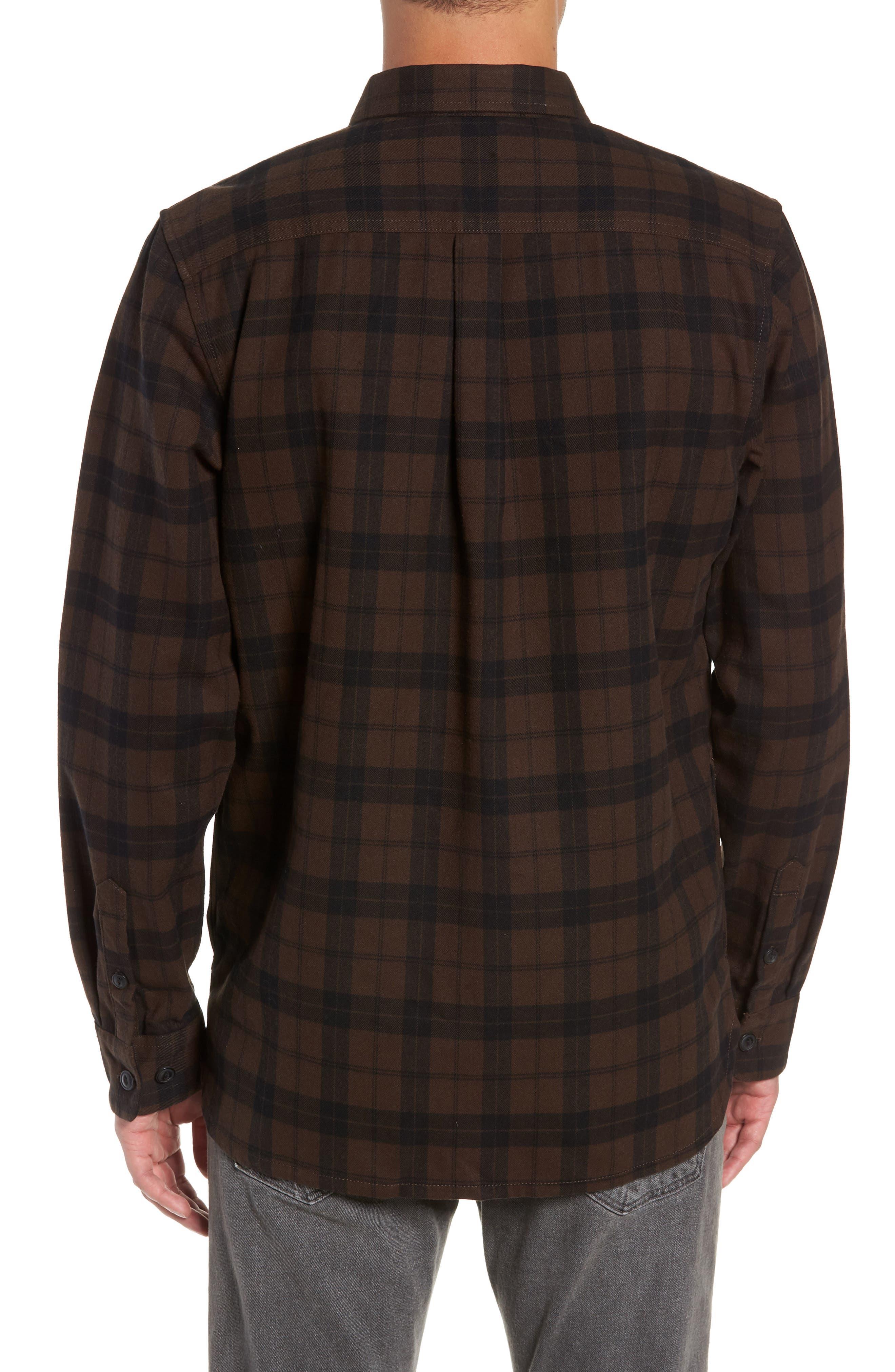Blackstone Flannel Shirt,                             Alternate thumbnail 3, color,                             DEMITASSE/ BLACK