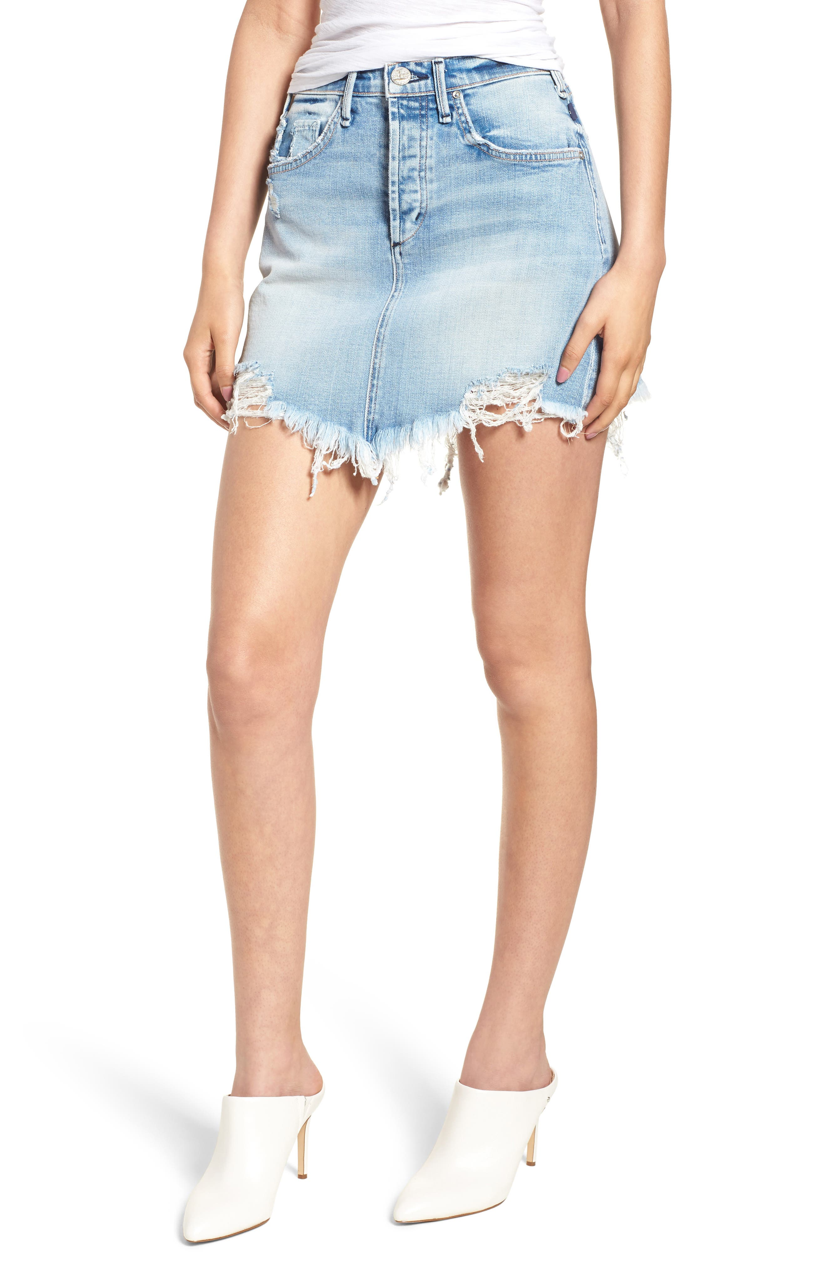 Izabel Angled Hem Denim Skirt,                         Main,                         color, DONT FADE AWAY