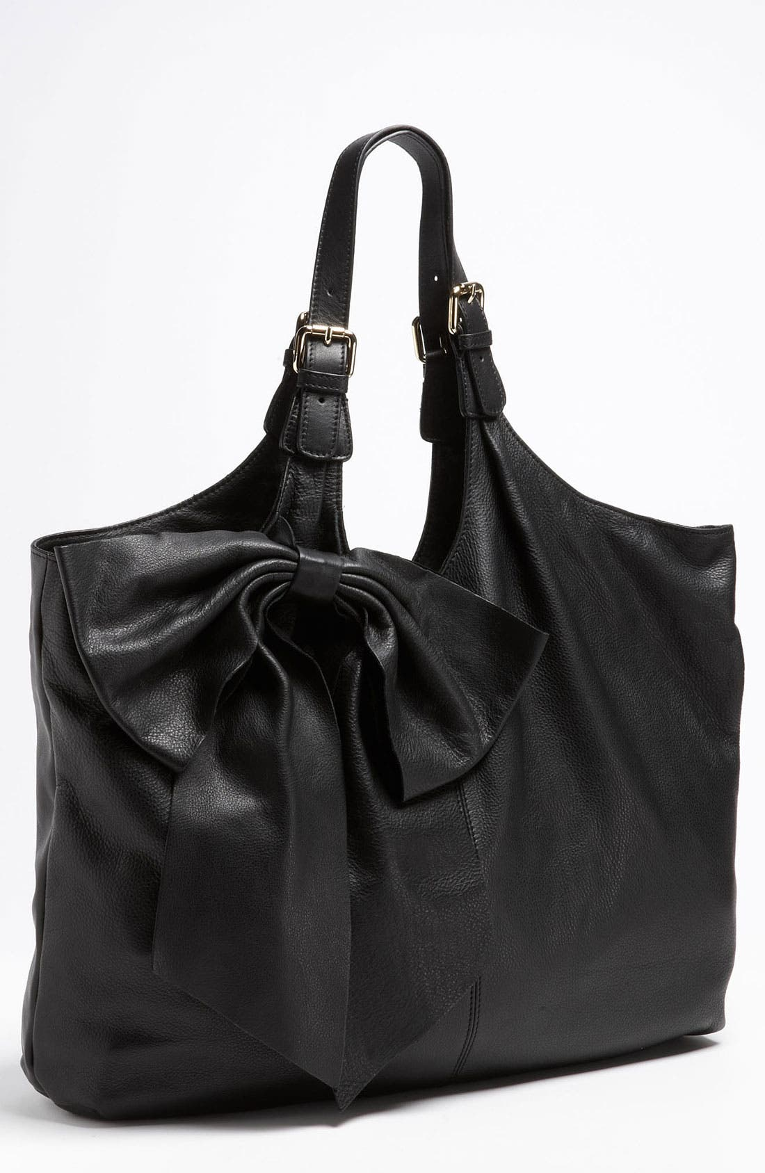 'Bow' Leather Hobo,                             Main thumbnail 1, color,                             002