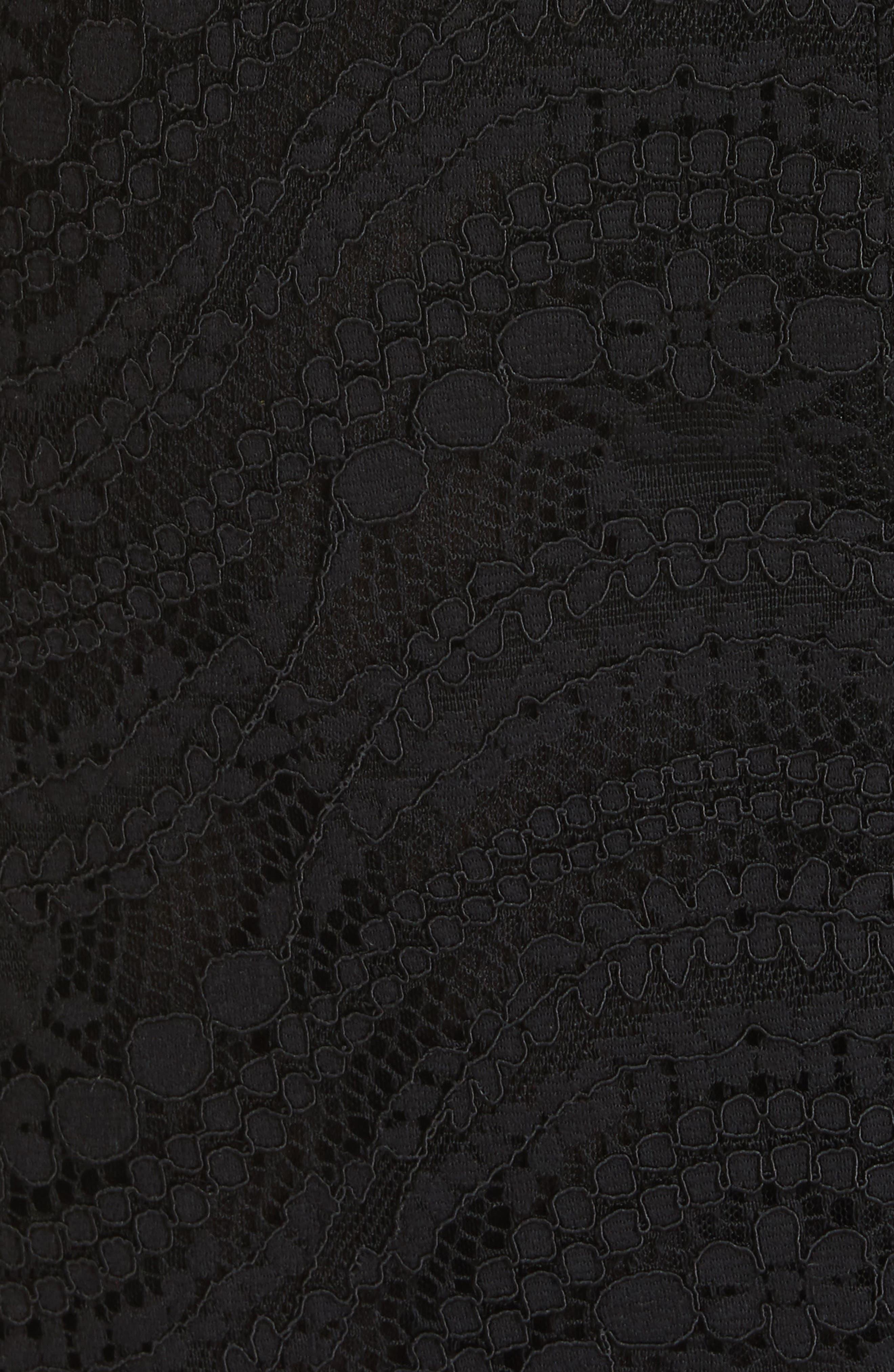 JONATHAN SIMKHAI,                             Lace Bustier Bodysuit Dress,                             Alternate thumbnail 6, color,                             BLACK