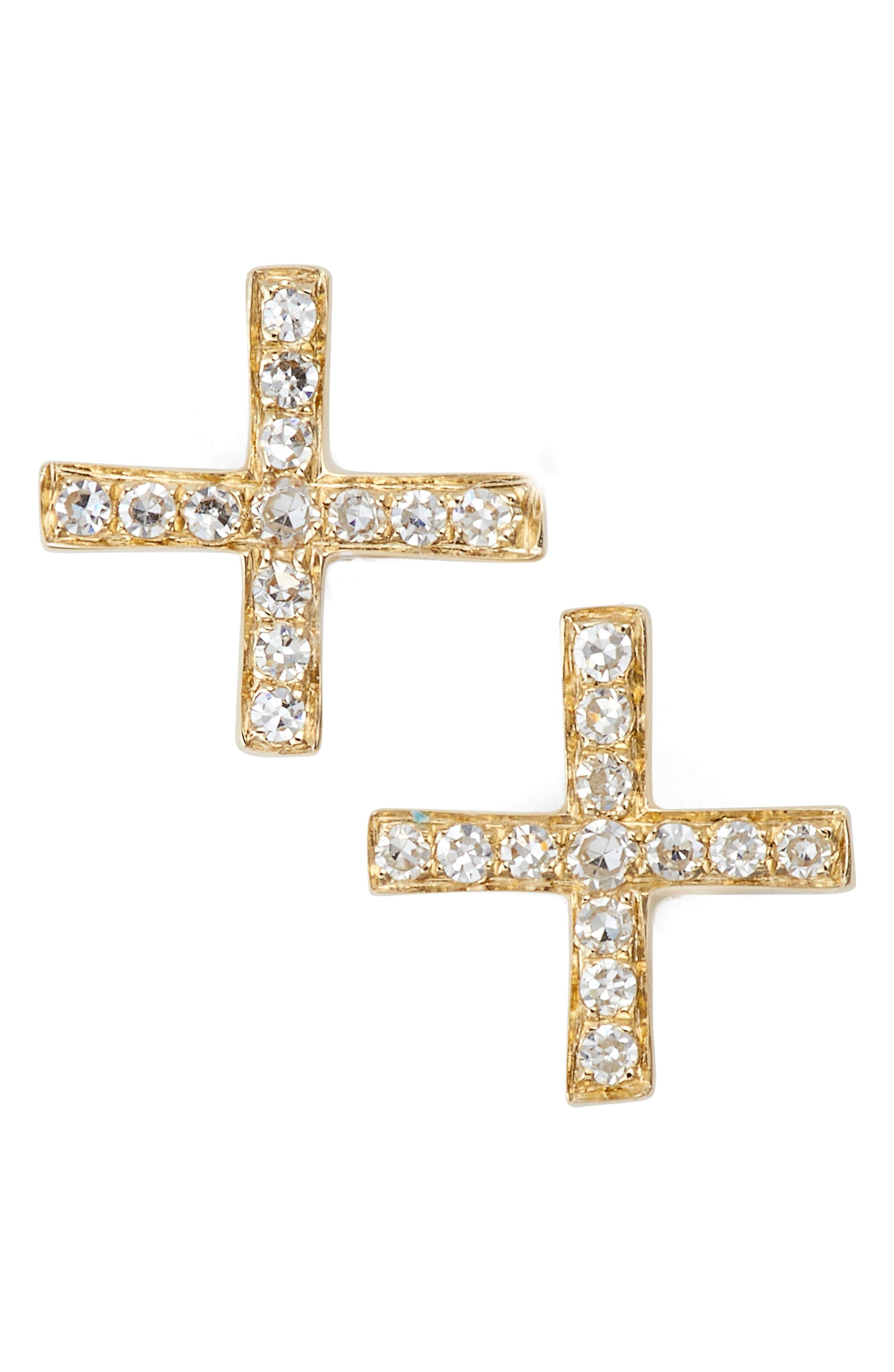 Diamond X Stud Earrings,                             Main thumbnail 1, color,                             710