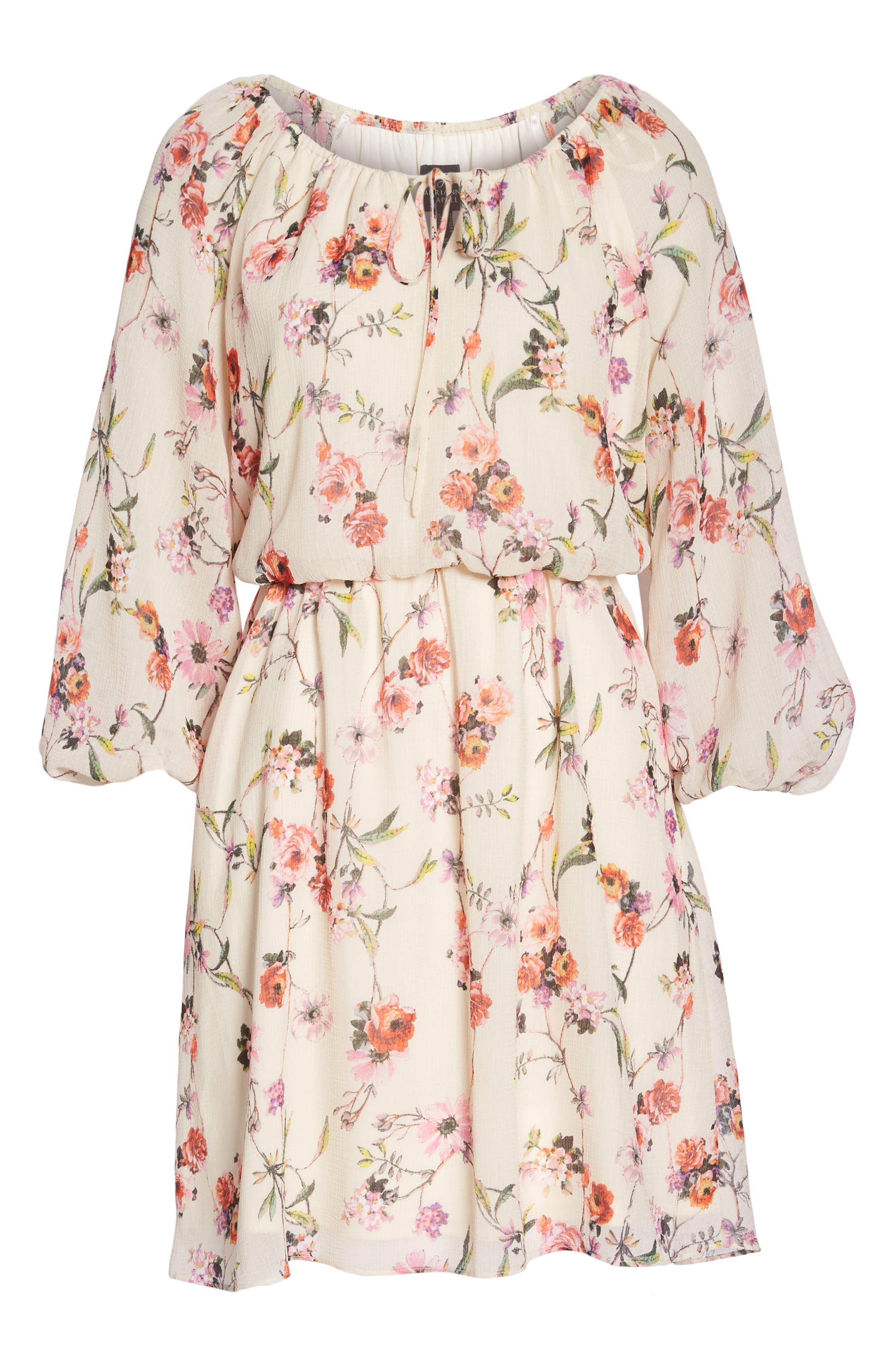 Bonita Oasis Floral Dress,                             Alternate thumbnail 7, color,                             IVORY MULTI
