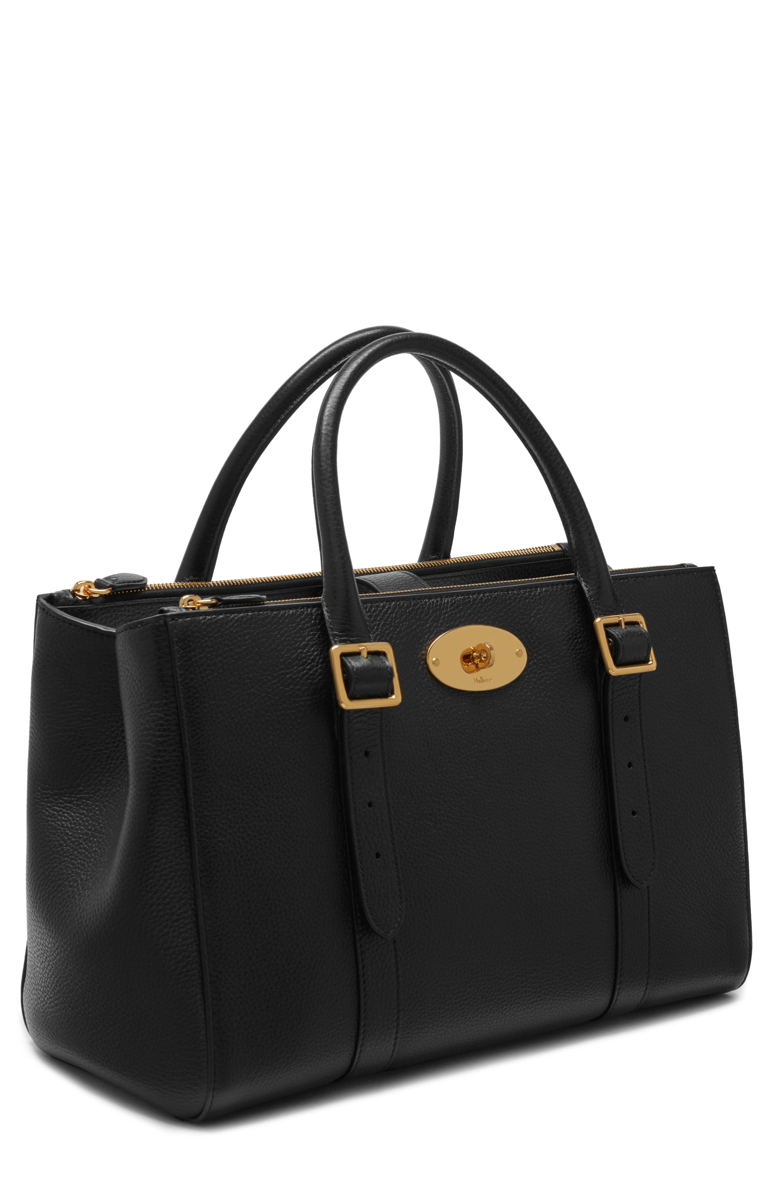 Bayswater Double Zip Leather Satchel,                             Main thumbnail 1, color,                             001