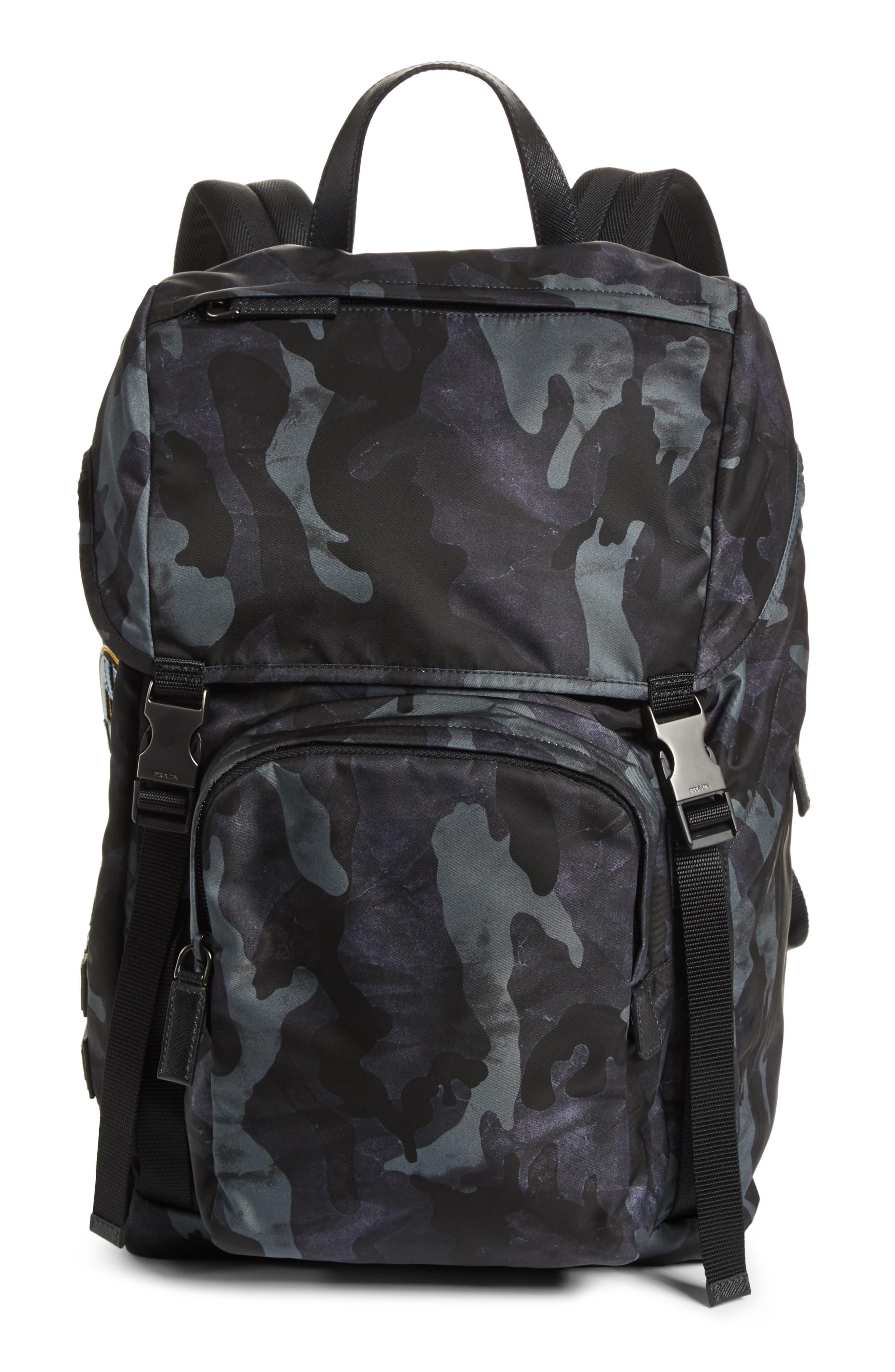 Tessuto Camo Nylon Backpack,                         Main,                         color, BLACK