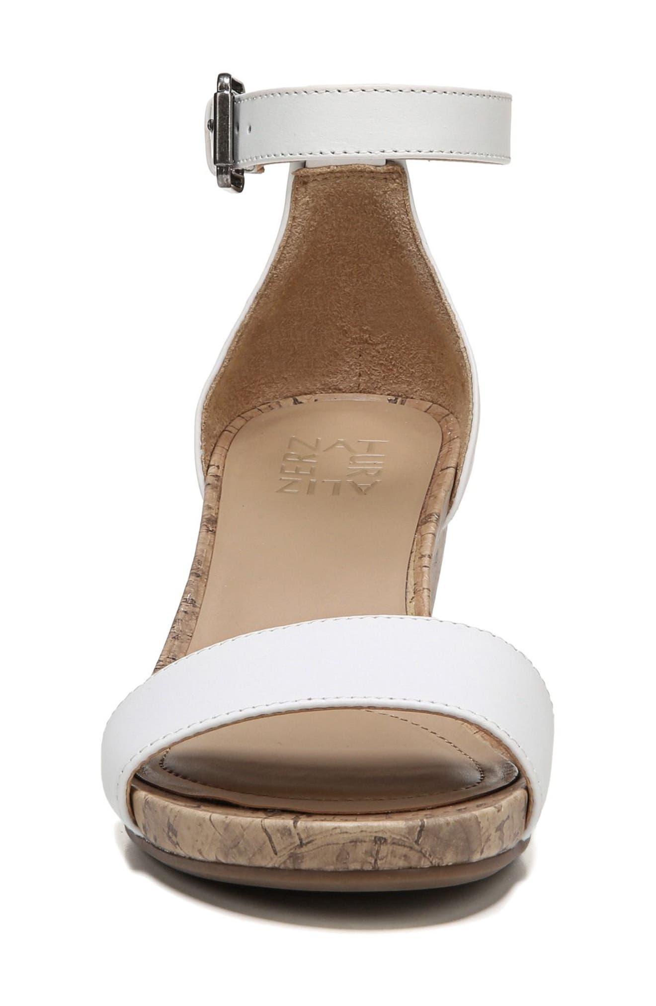 Cami Wedge Sandal,                             Alternate thumbnail 5, color,                             WHITE LEATHER