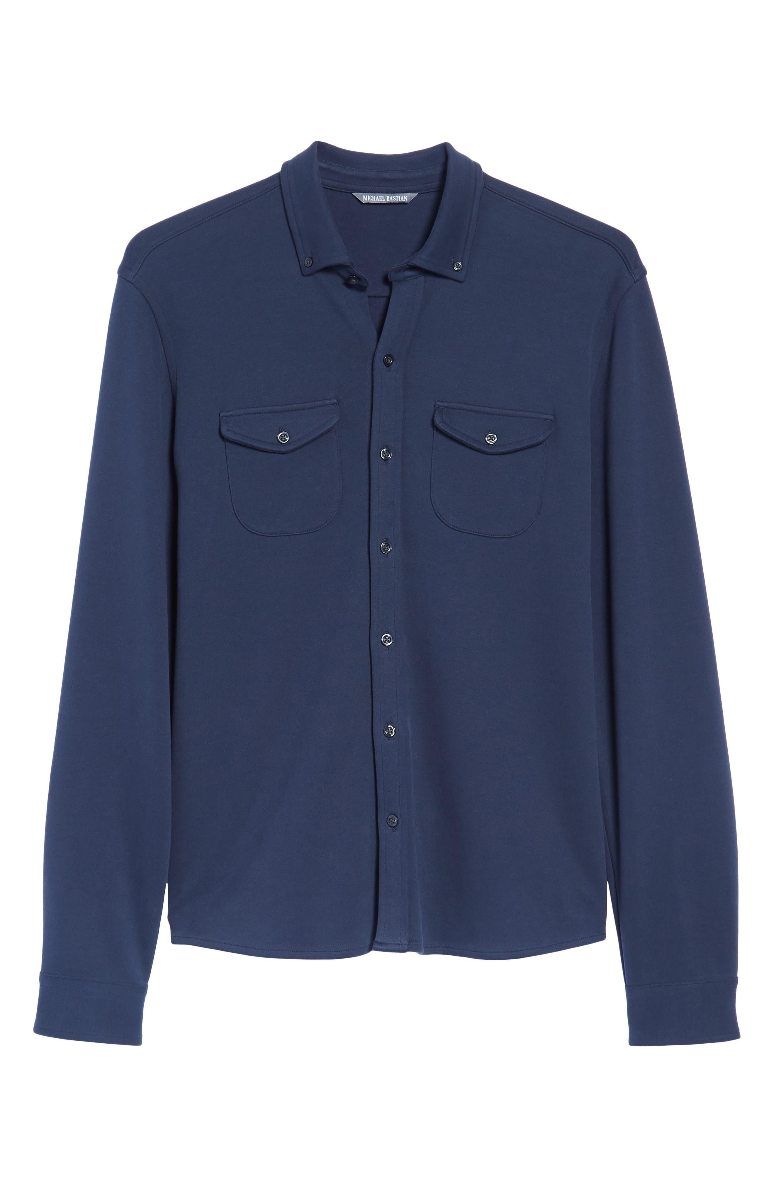 Trim Fit Pima Cotton Knit Sport Shirt,                             Alternate thumbnail 6, color,                             410