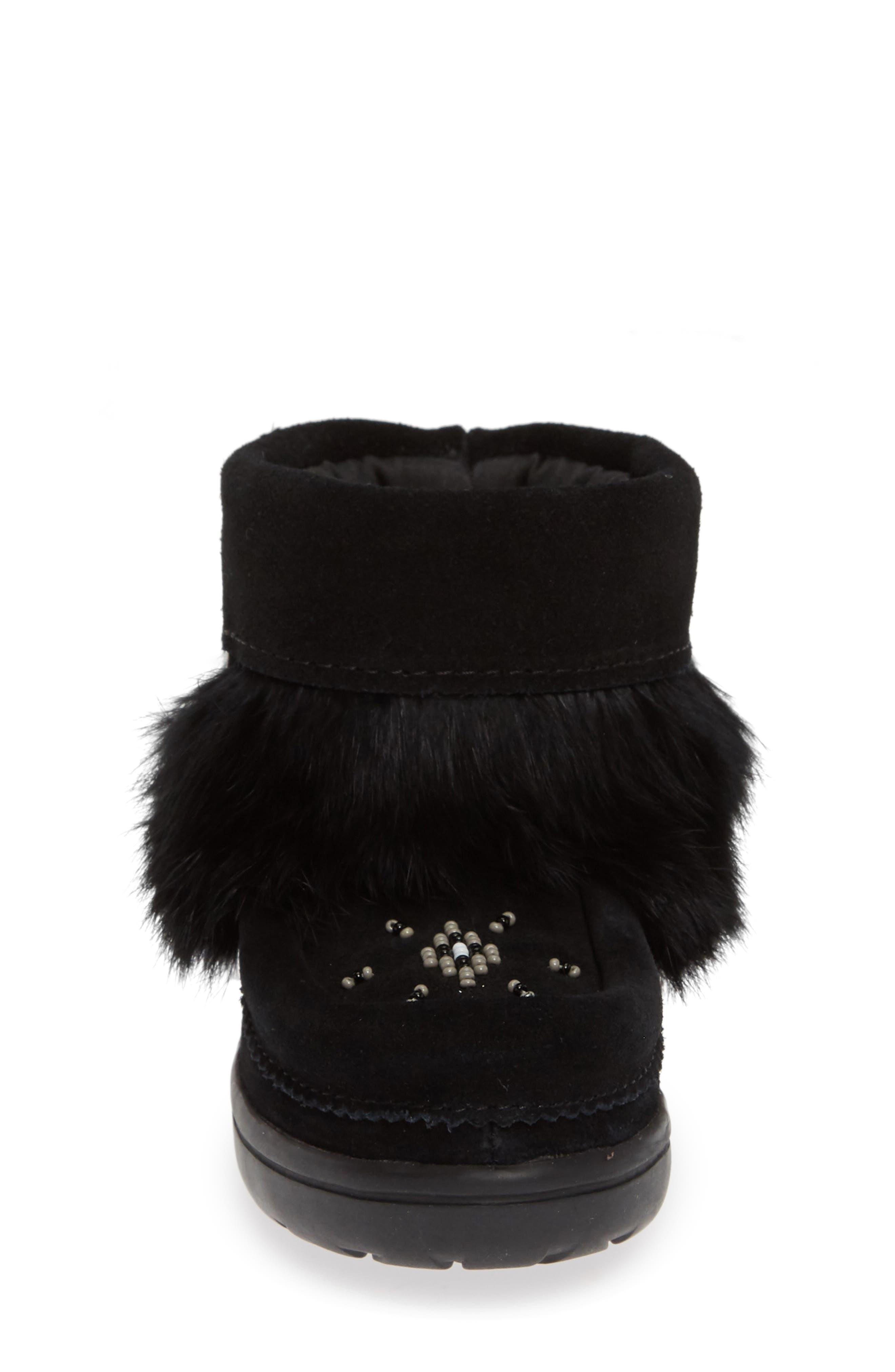 Snowy Owlet Genuine Fur Waterproof Boot,                             Alternate thumbnail 4, color,                             BLACK