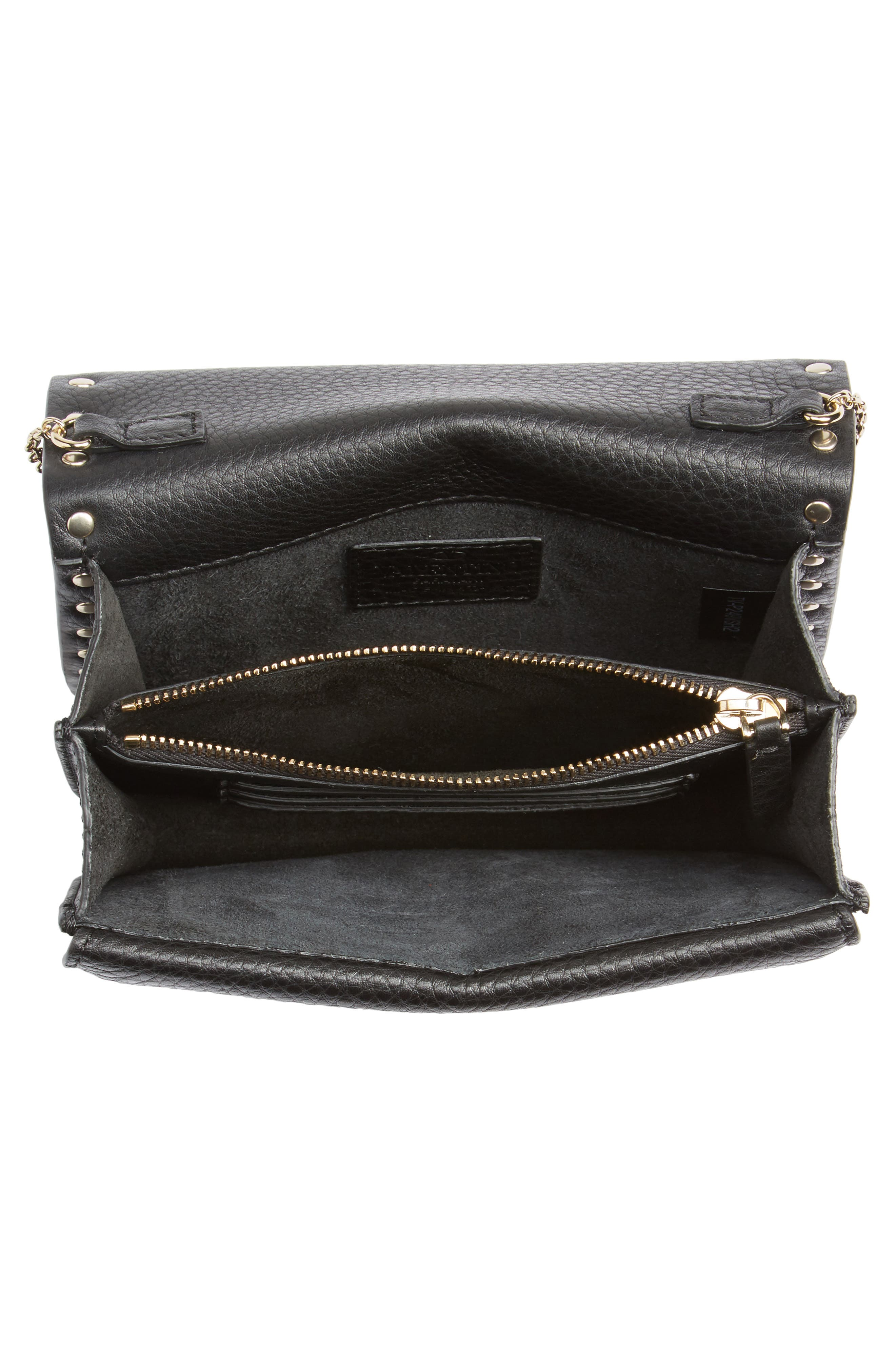 Rockstud Leather Pouch Wallet on a Chain,                             Alternate thumbnail 4, color,                             BLACK