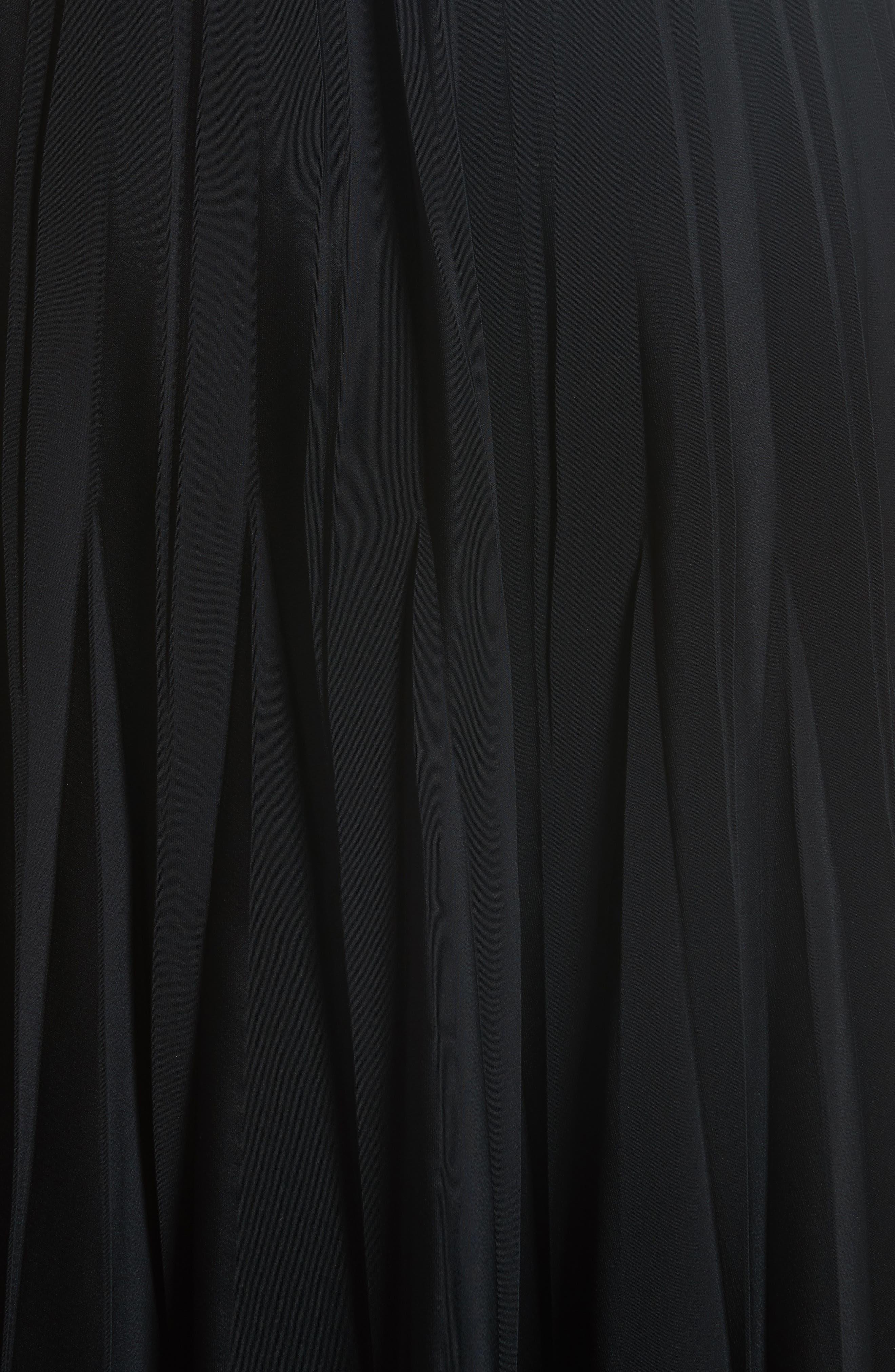 Pleated Stretch Crepe Midi Skirt,                             Alternate thumbnail 5, color,                             001
