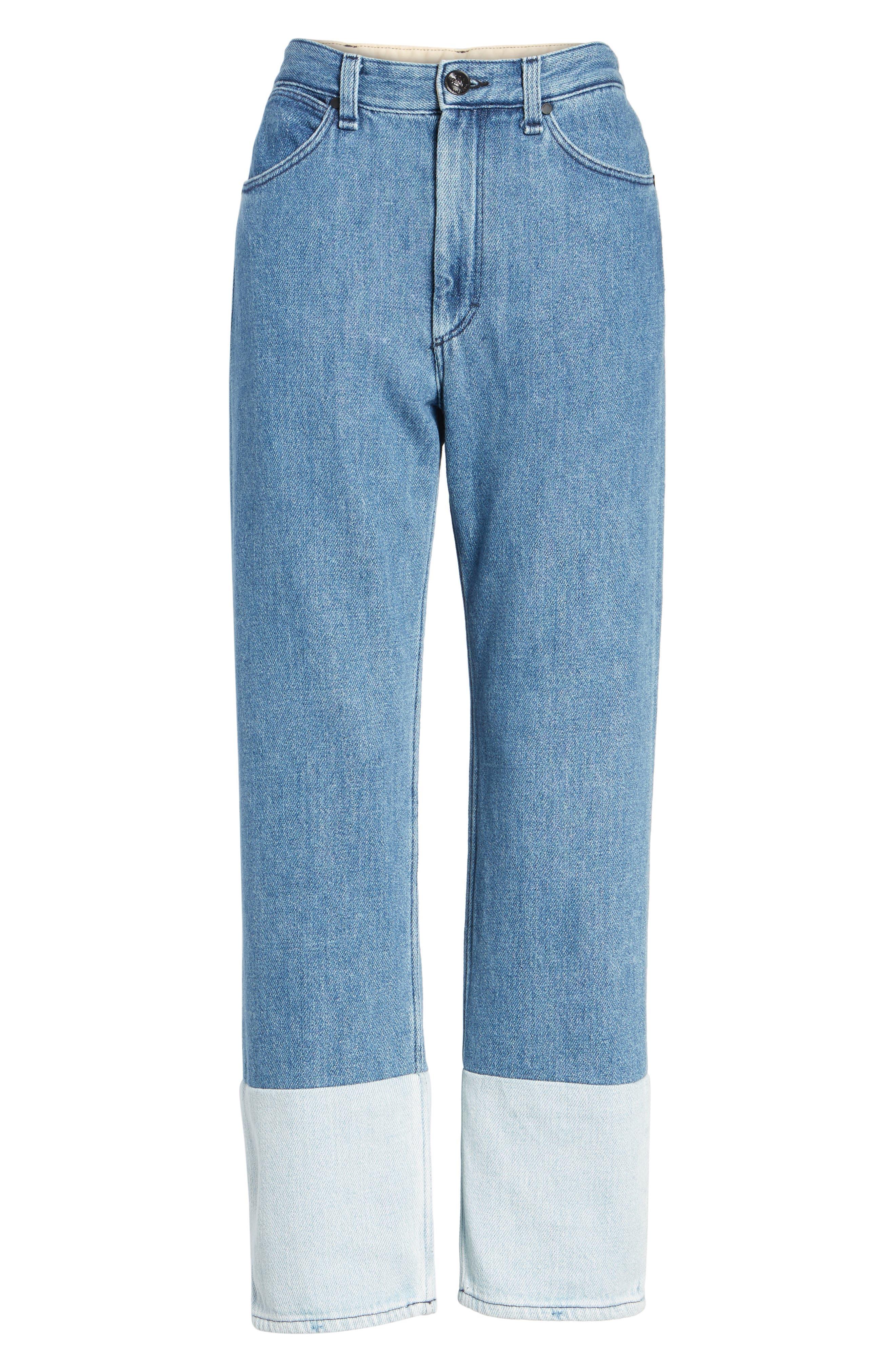 High Waist Straight Leg Jeans,                             Alternate thumbnail 6, color,                             404