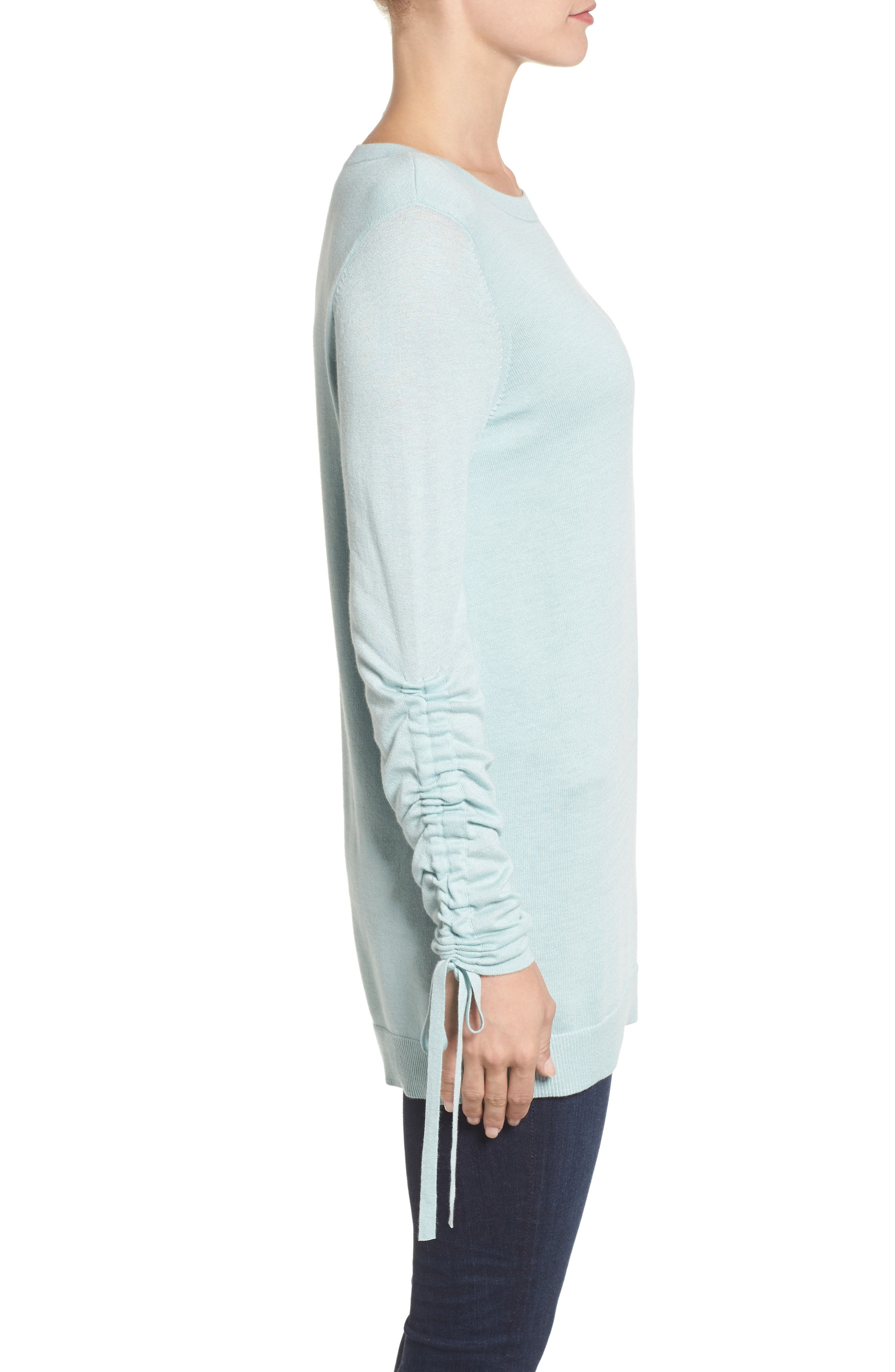 Ruched Sleeve Tunic Sweater,                             Alternate thumbnail 14, color,