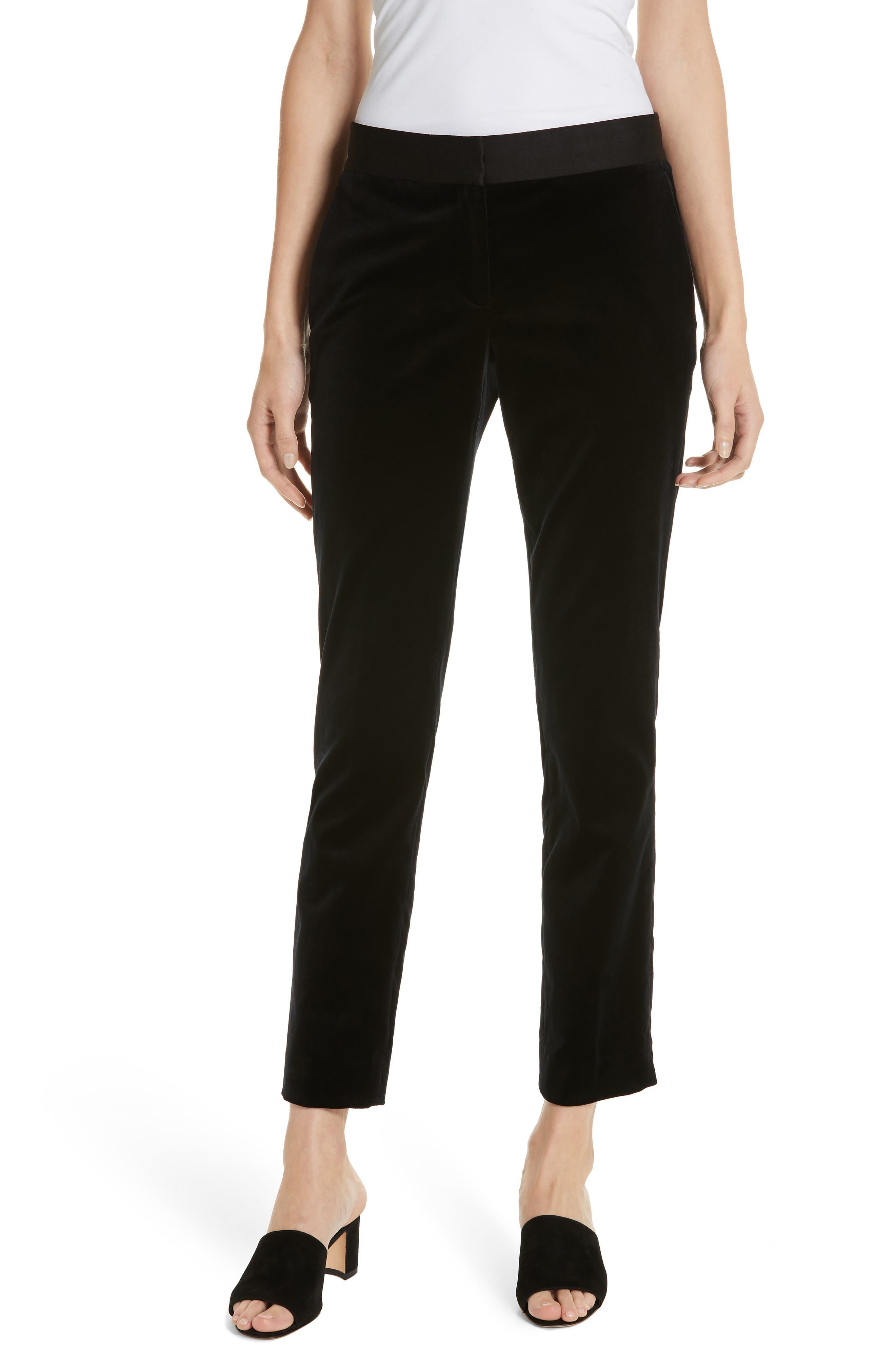 Stretch Cotton Velvet Trousers,                             Main thumbnail 1, color,                             001