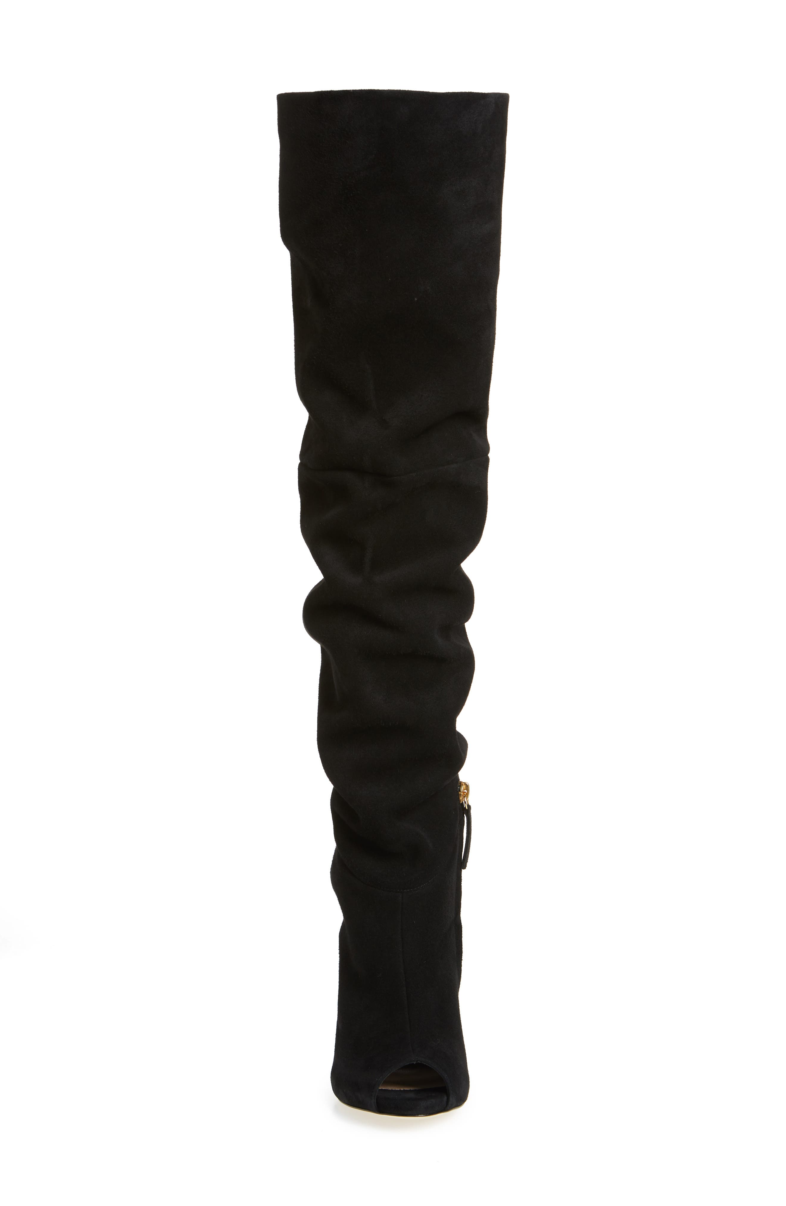 x Rita Ora Chain Heel Over the Knee Boot,                             Alternate thumbnail 4, color,                             BLACK