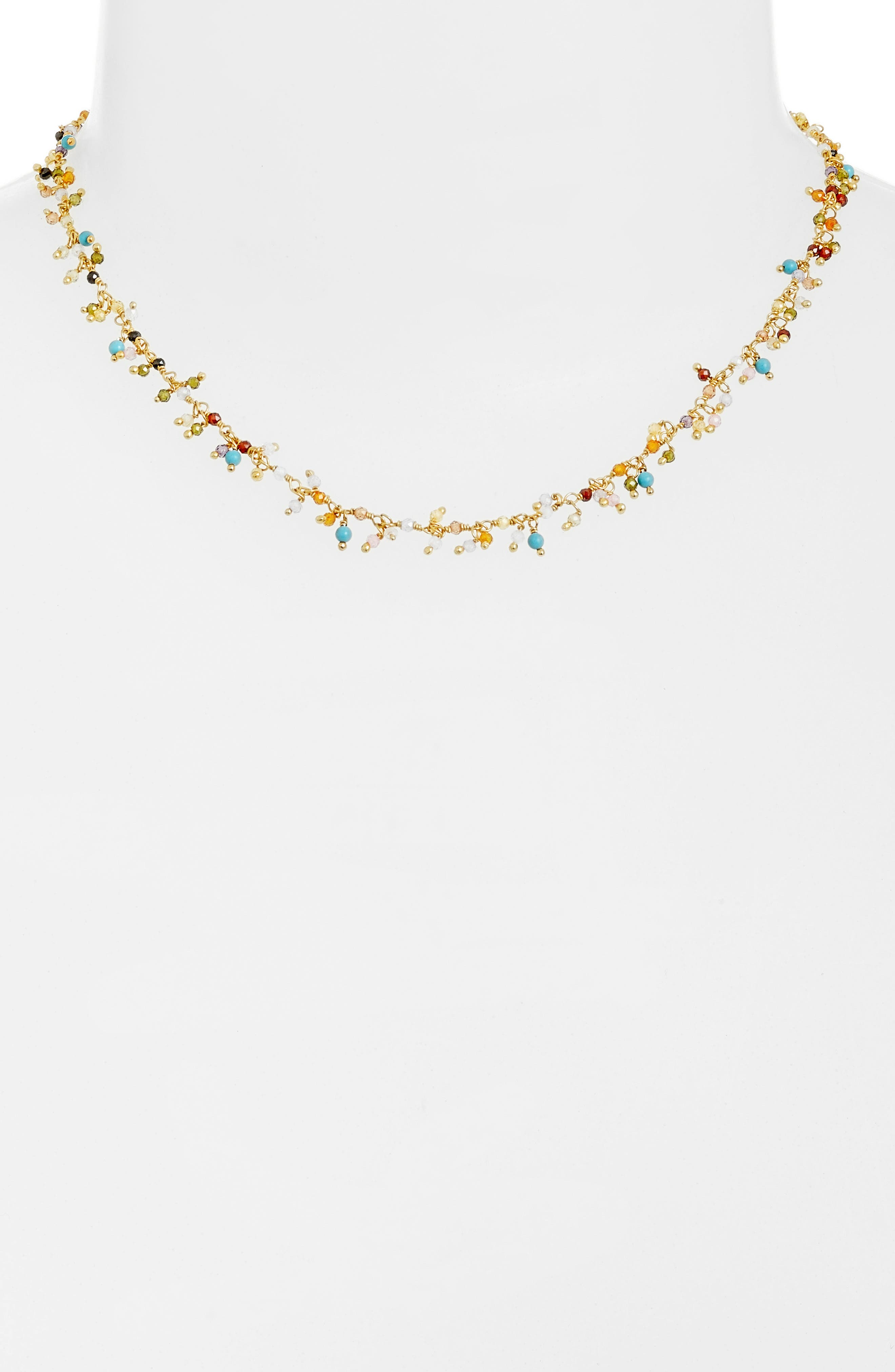 Mixed Crystal Necklace,                             Alternate thumbnail 2, color,                             BEIGE MULTI