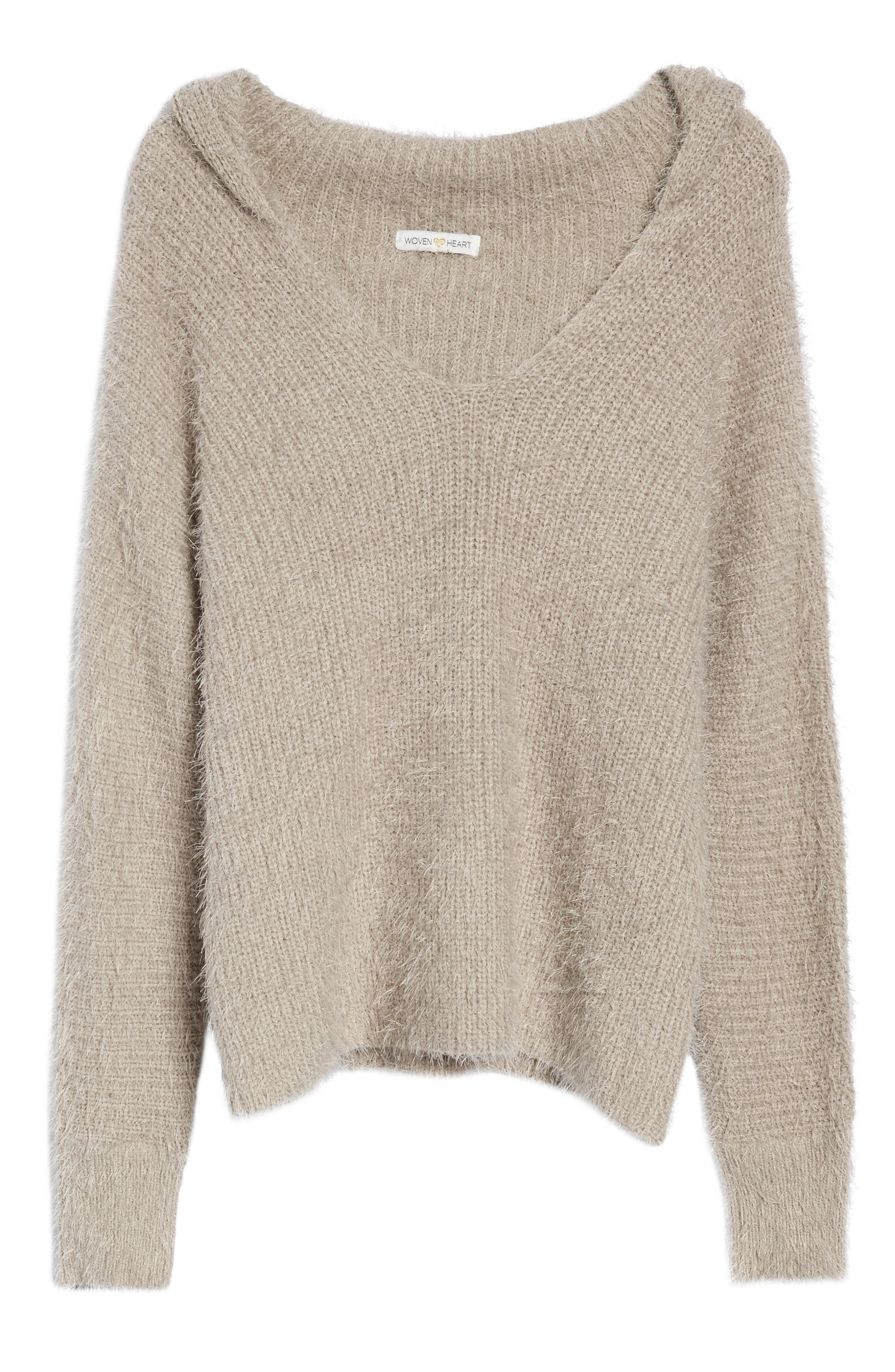 Eyelash Knit Hooded Sweater,                             Alternate thumbnail 6, color,