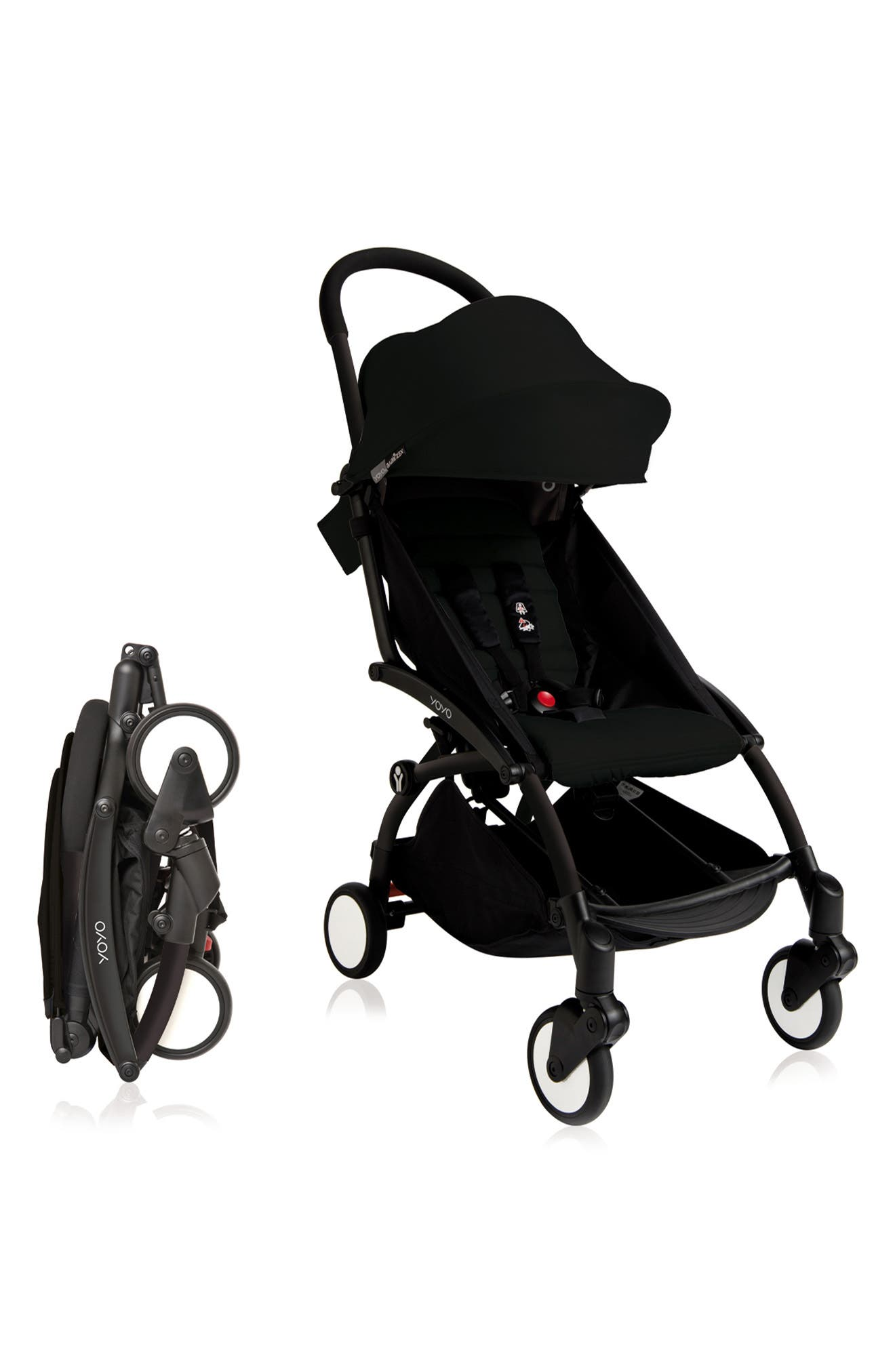 BABYZEN YOYO+ Complete Stroller with Toddler/Little Kid Color Pack Fabric Set,                             Alternate thumbnail 3, color,                             BLACK/ BLACK