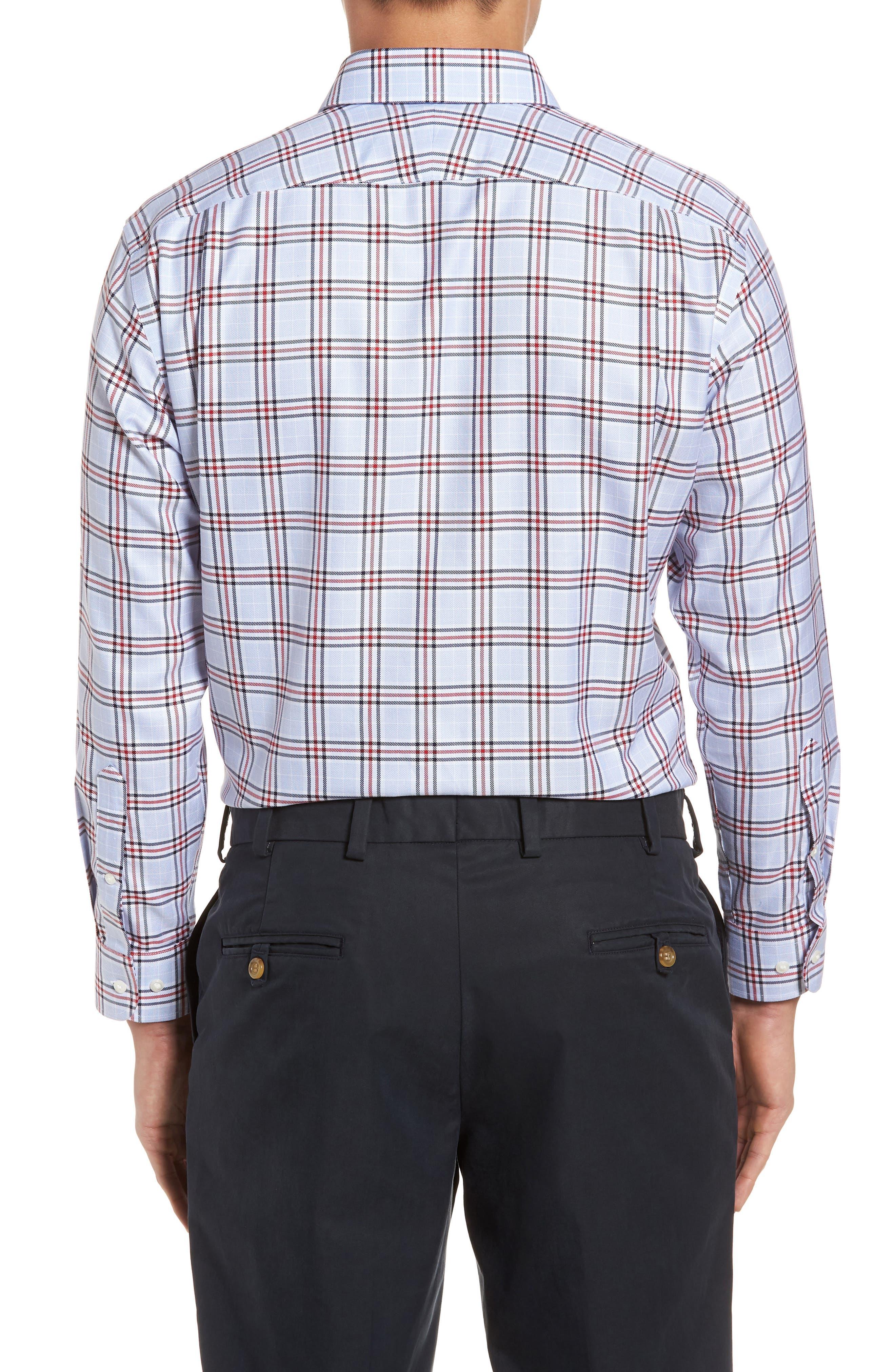 Smartcare<sup>™</sup> Trim Fit Plaid Dress Shirt,                             Alternate thumbnail 3, color,                             601