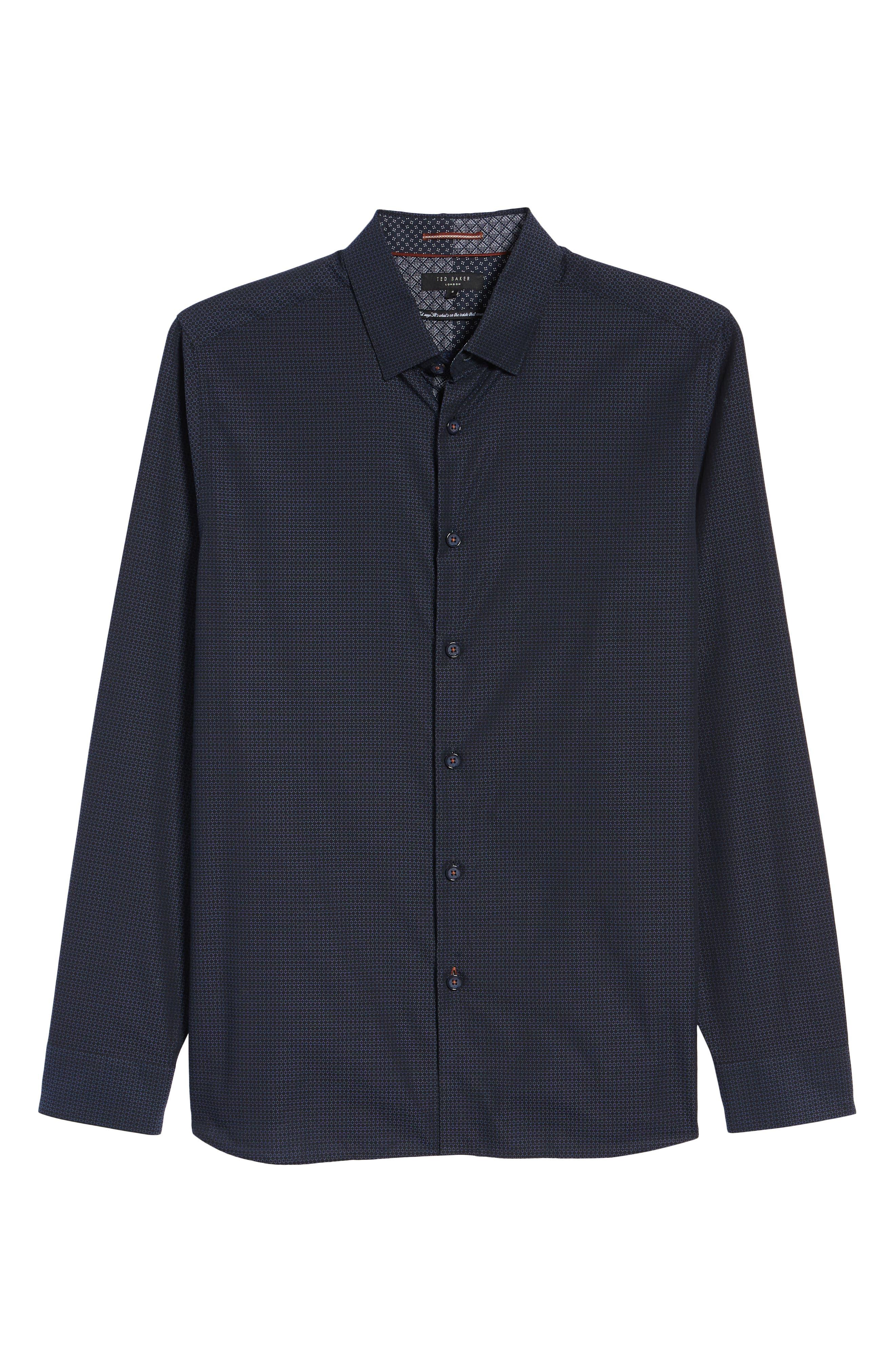 Myll Slim Fit Jacquard Sport Shirt,                             Alternate thumbnail 5, color,                             NAVY