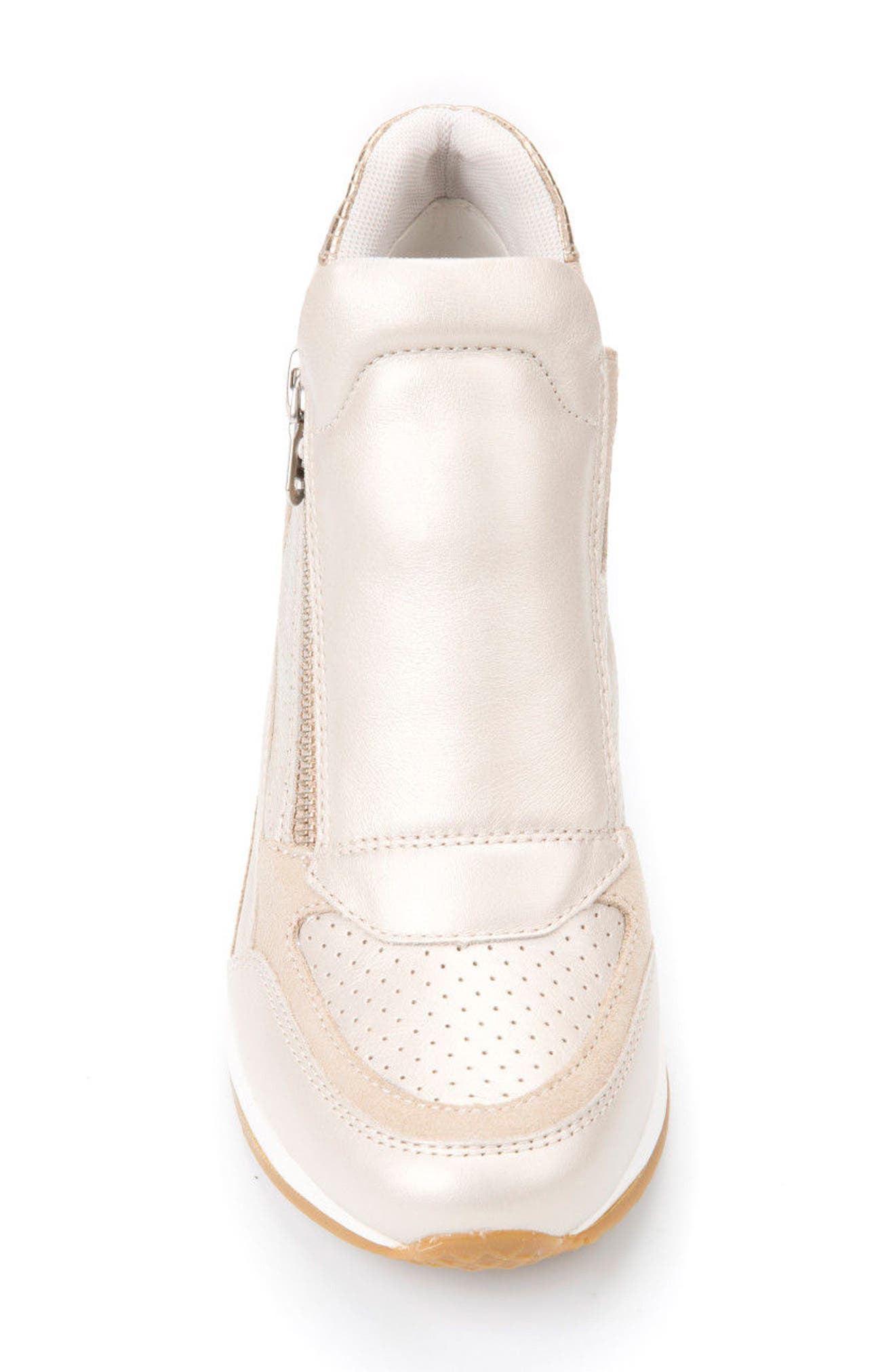 Nydame Wedge Sneaker,                             Alternate thumbnail 4, color,                             PLATINUM LEATHER