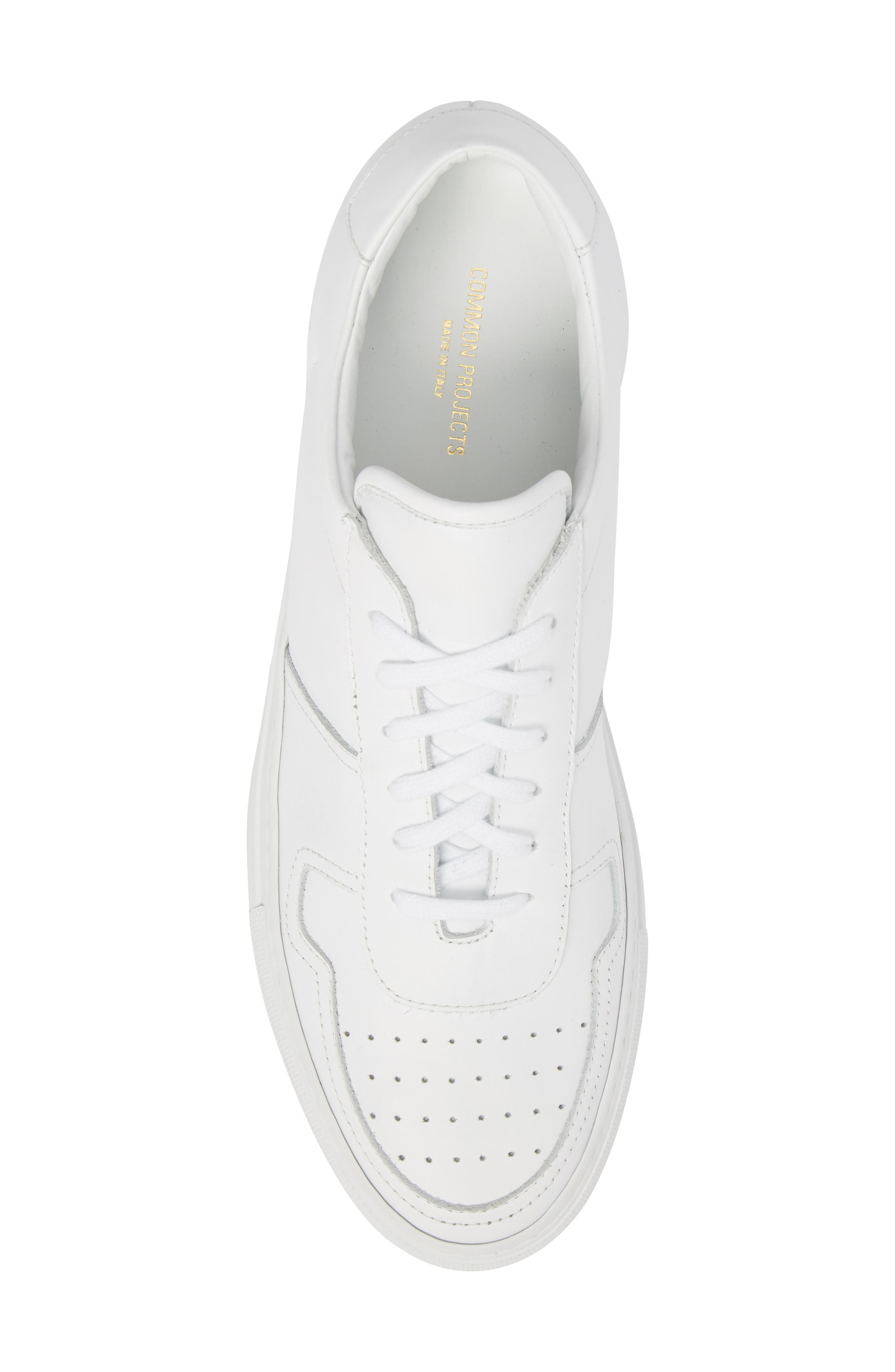 Bball Low Top Sneaker,                             Alternate thumbnail 5, color,                             WHITE LEATHER