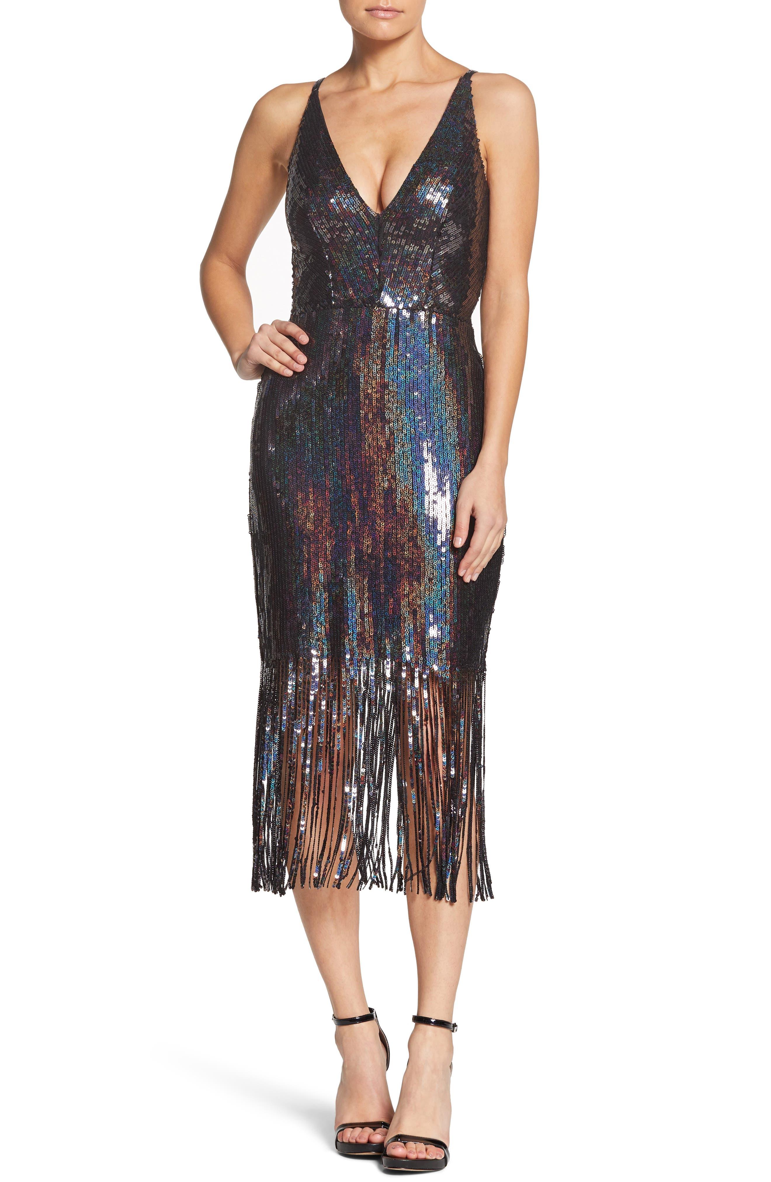Frankie Plunge Midi Dress,                         Main,                         color, ONYX