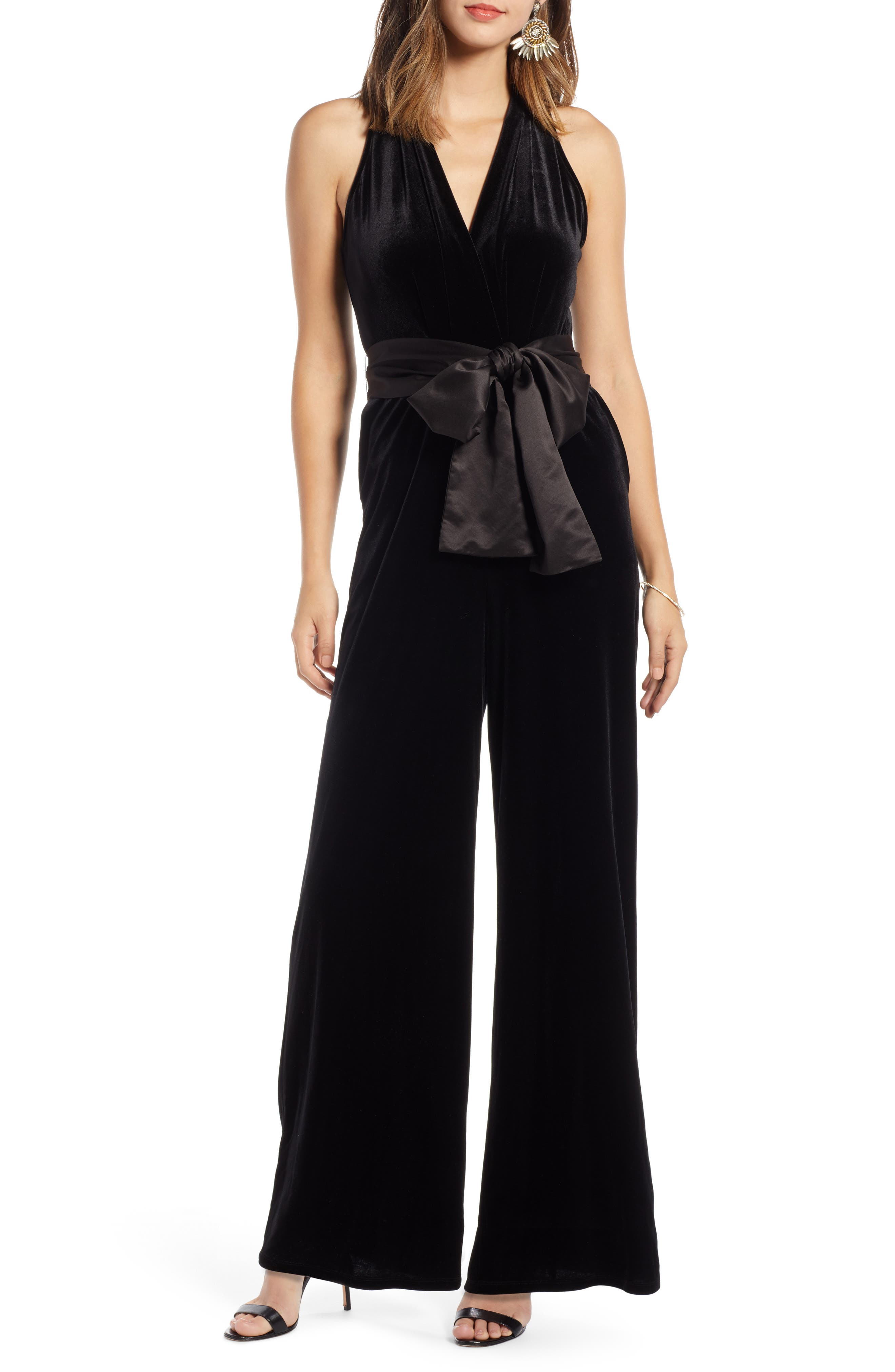 70s Prom, Formal, Evening, Party Dresses Petite Womens 1901 Velvet Jumpsuit Size X-Small P - Black $71.40 AT vintagedancer.com