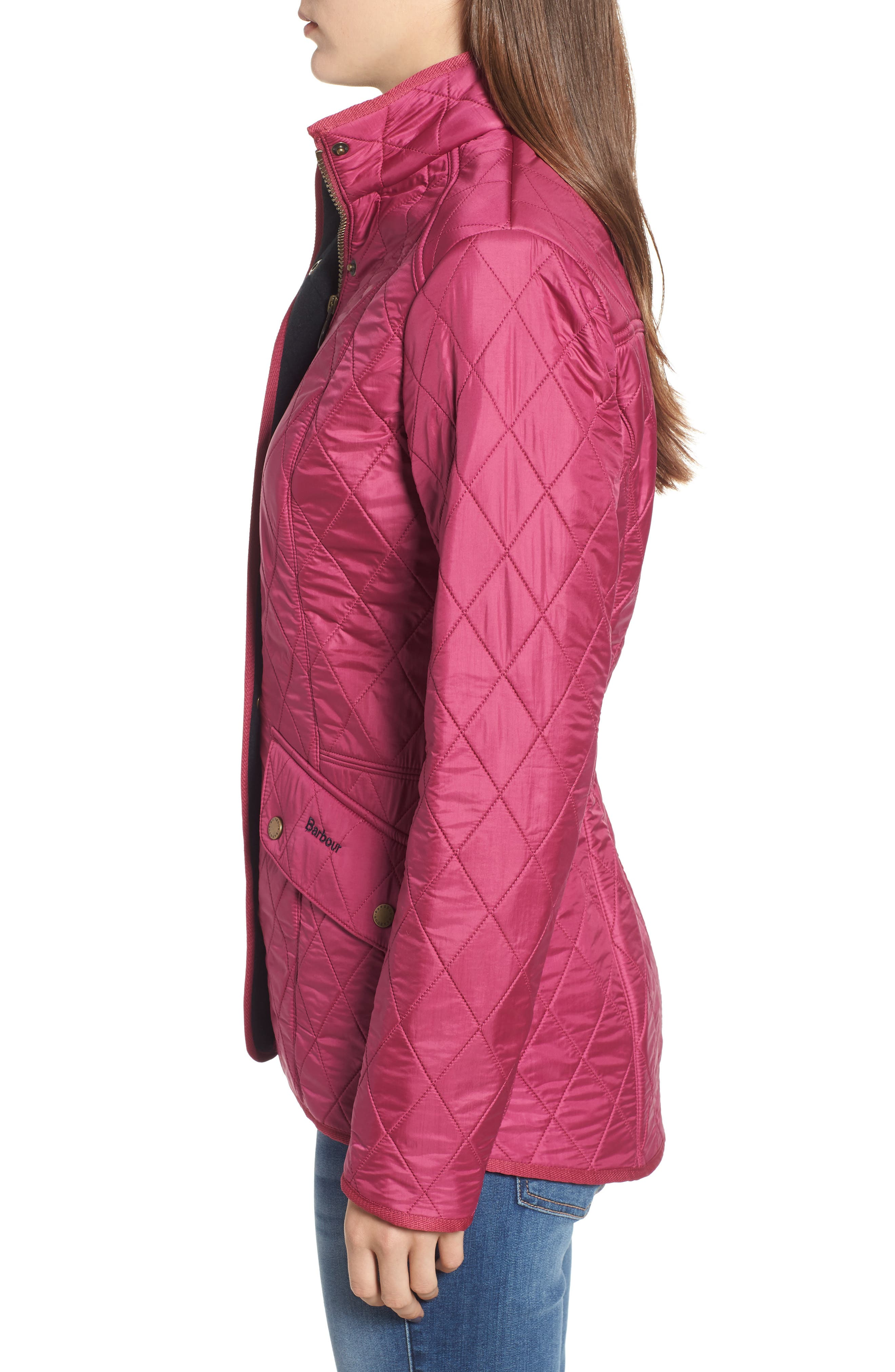 'Cavalry' Quilted Jacket,                             Alternate thumbnail 3, color,                             BERRY PINK / NAVY