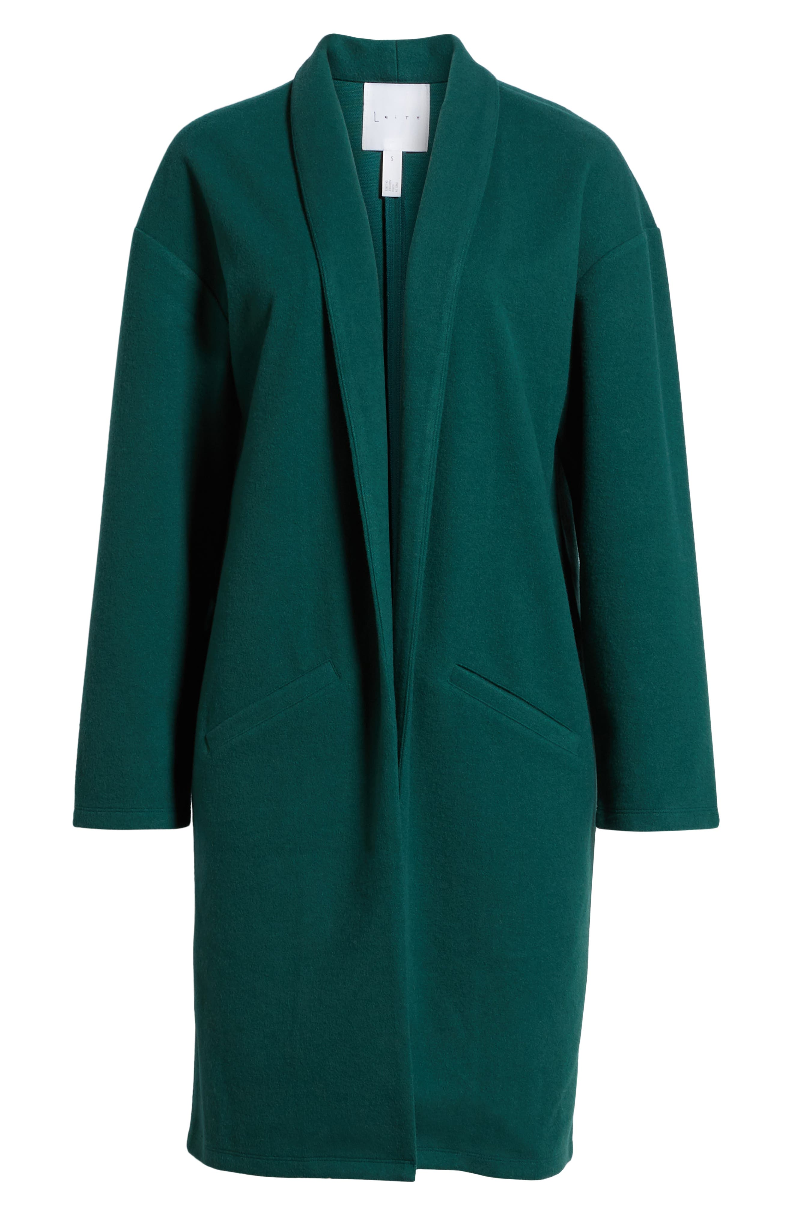Open Front Midi Coat,                             Alternate thumbnail 6, color,                             GREEN BOTANICAL