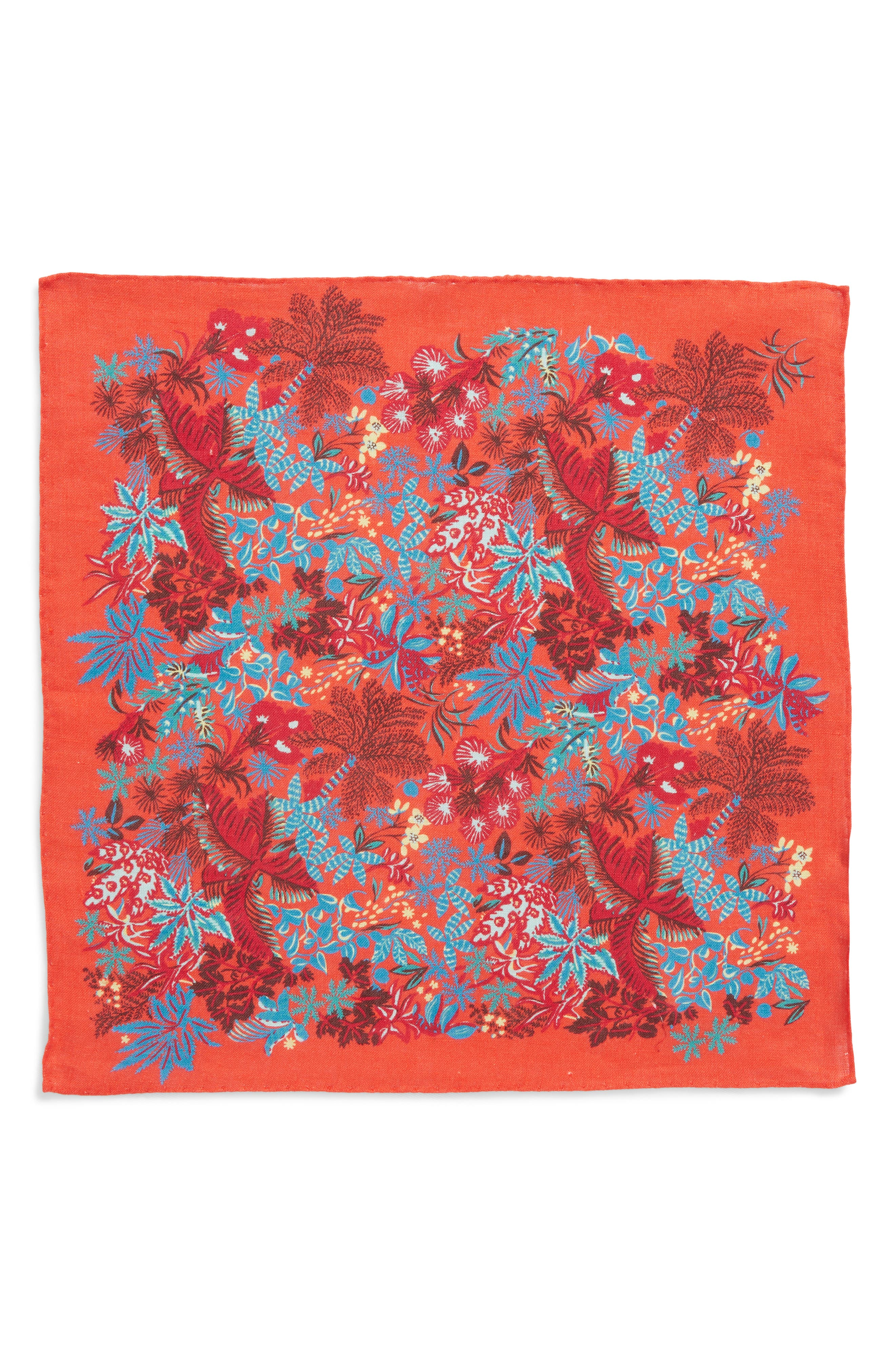 Coral Reef Floral Linen Pocket Square,                             Alternate thumbnail 4, color,