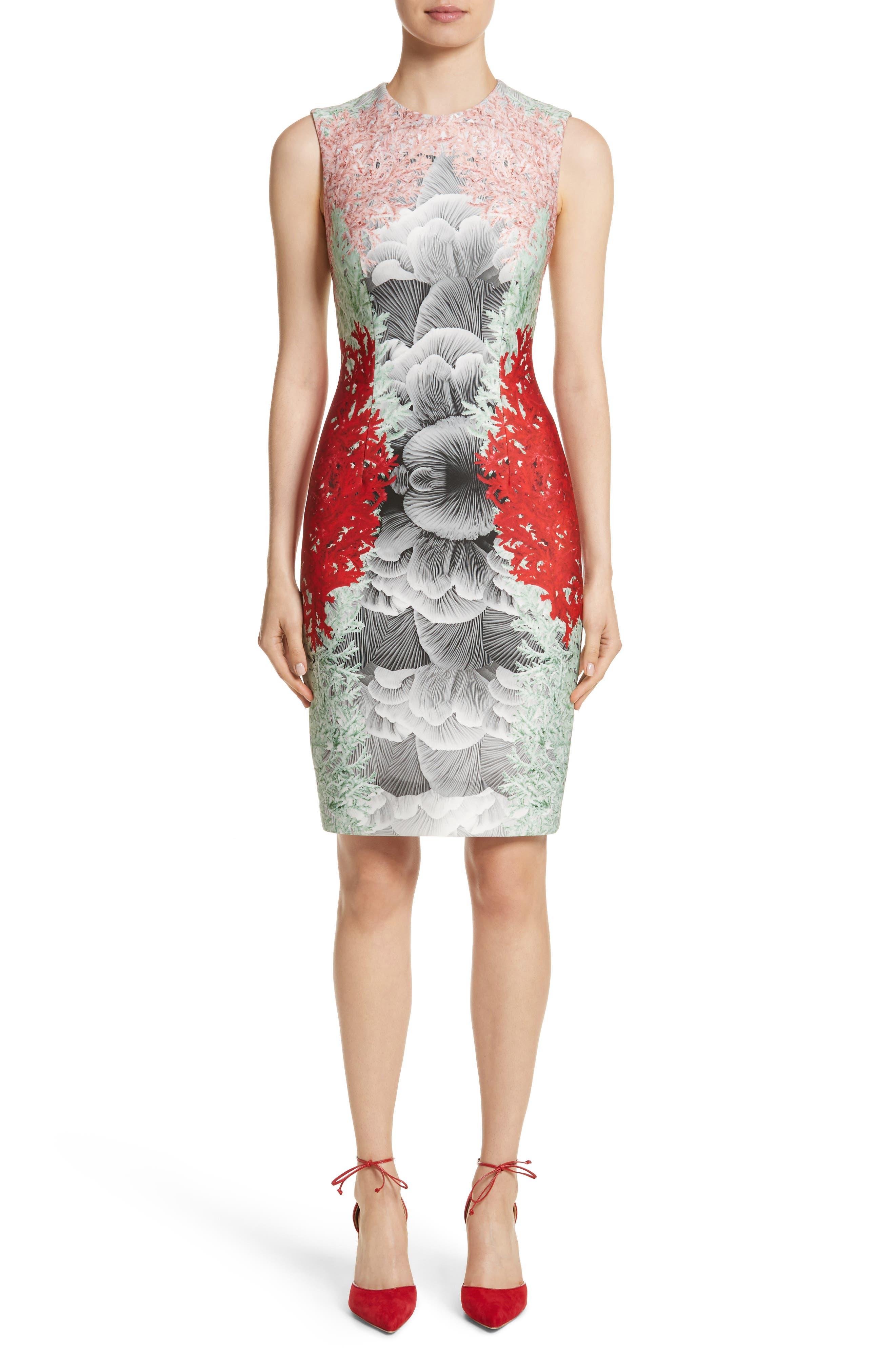 Coral Print Scuba Sheath Dress,                             Main thumbnail 1, color,