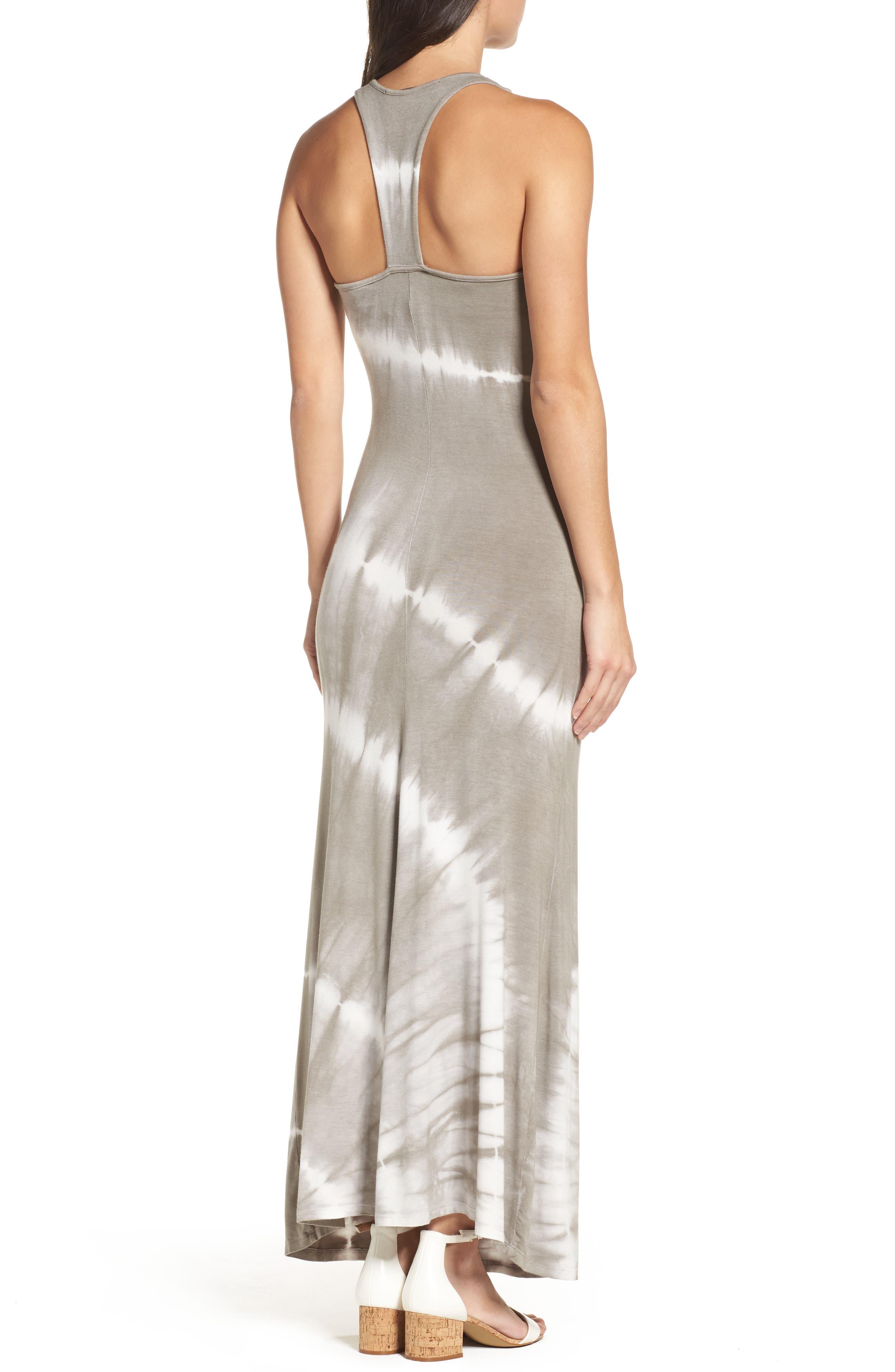 Tie Dye Racerback Maxi Dress,                             Alternate thumbnail 3, color,                             GREY/ WHITE