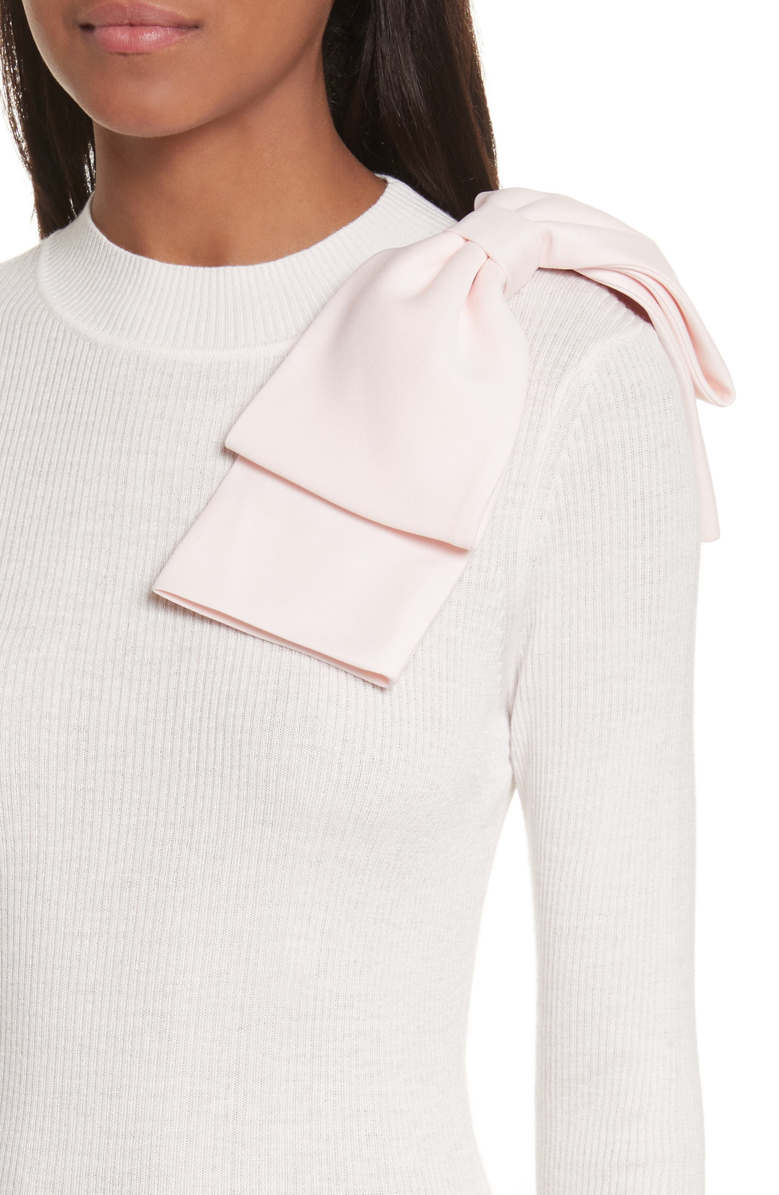 Nehru Bow Skinny Rib Knit Sweater,                             Alternate thumbnail 8, color,