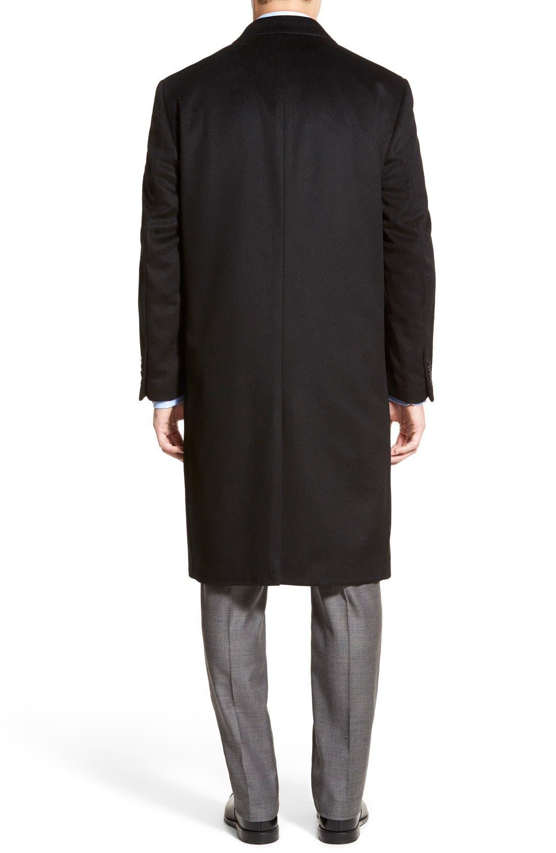 Sheffield Classic Fit Wool & Cashmere Overcoat,                             Alternate thumbnail 4, color,                             BLACK
