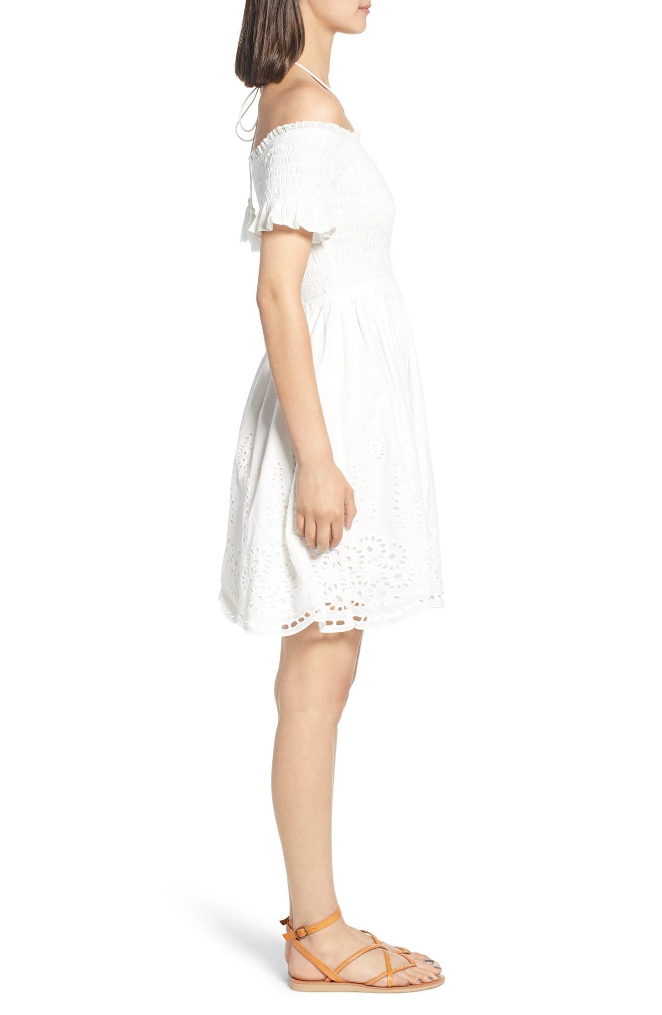 Smocked Off the Shoulder Dress,                             Alternate thumbnail 3, color,                             WHITE EYELET