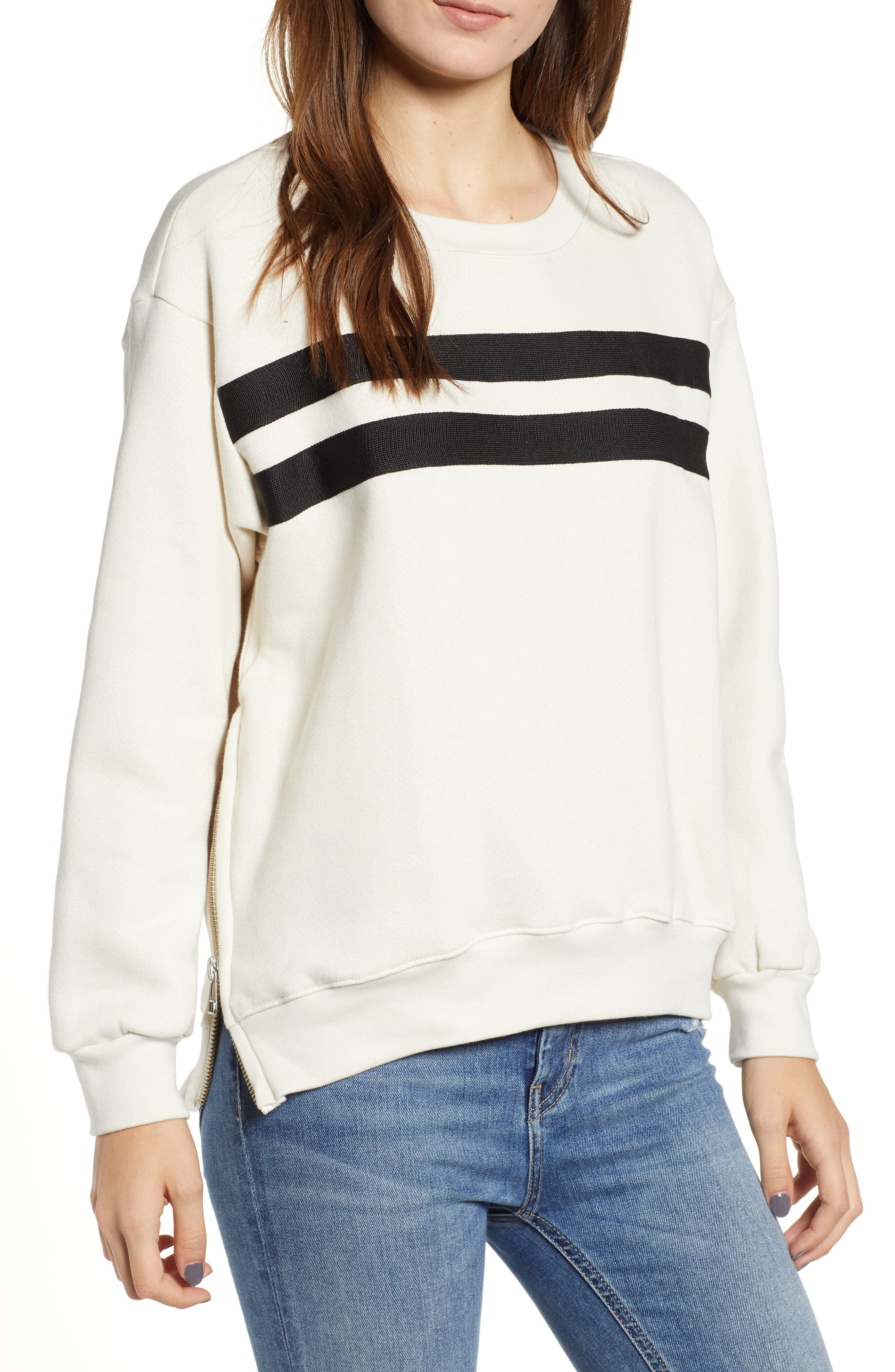 Side Zip Stripe Pullover,                         Main,                         color, 100