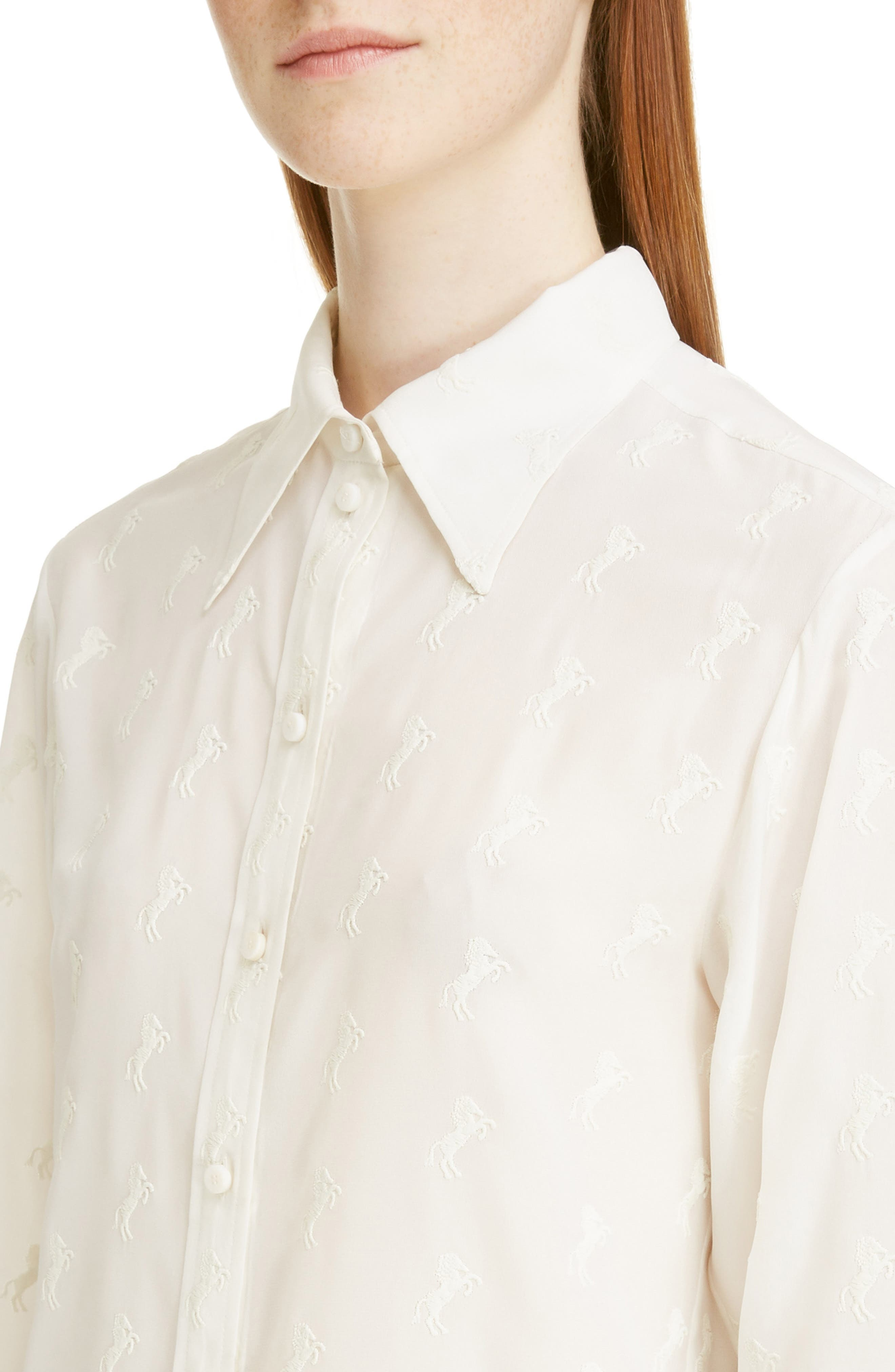 Horse Embroidered Crêpe de Chine Shirt,                             Alternate thumbnail 4, color,                             ICONIC MILK