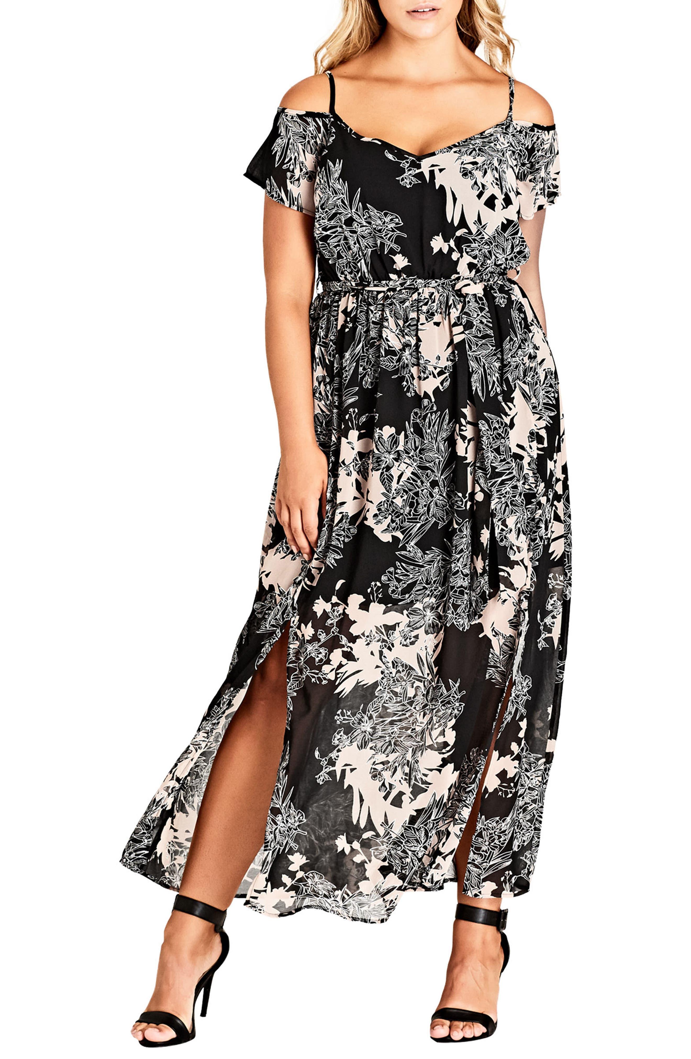 Plus Size City Chic Floral Shadow Cold Shoulder Maxi Dress, Black