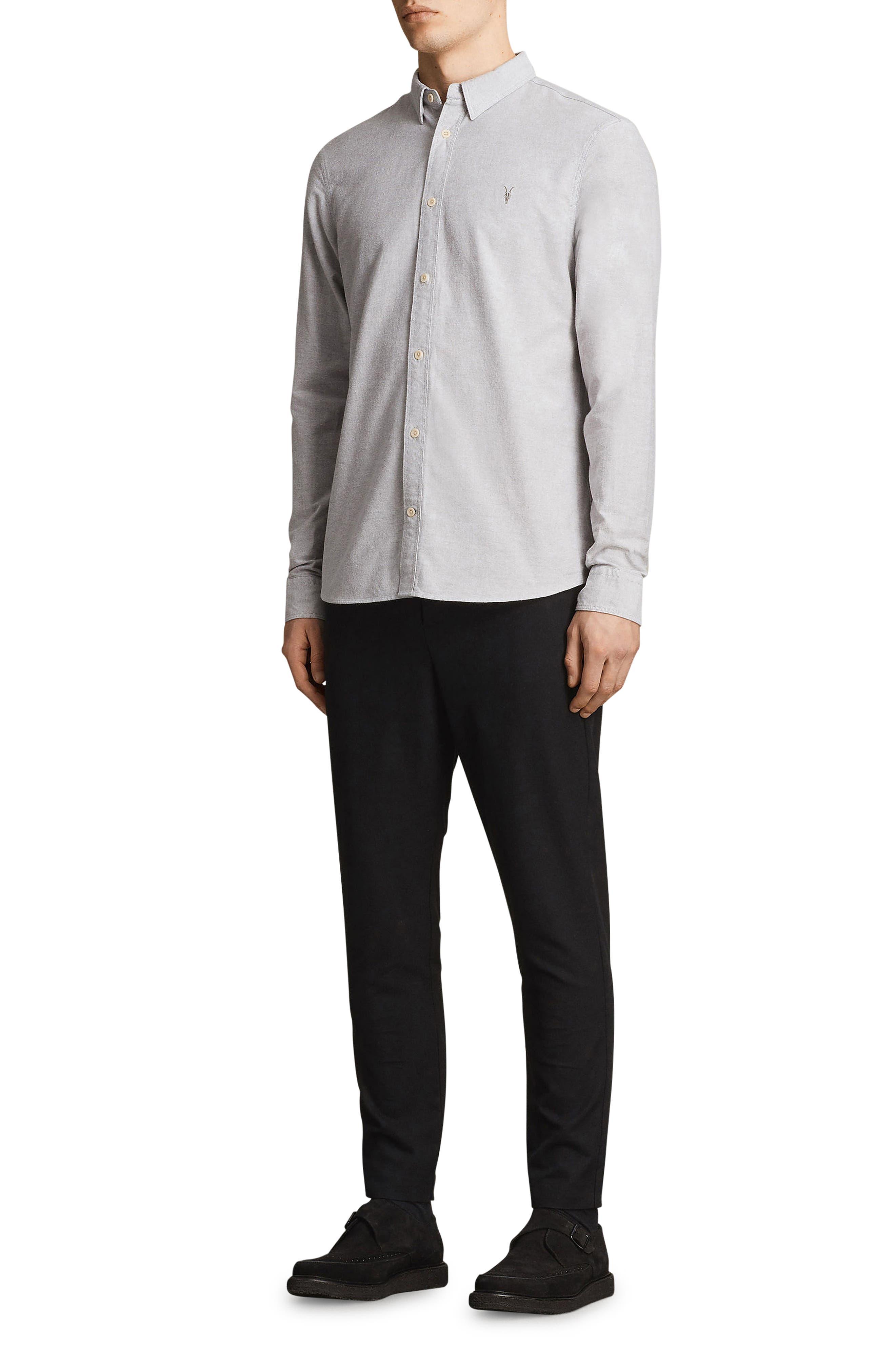 Huntington Regular Fit Sport Shirt,                             Alternate thumbnail 4, color,                             DARK GULL GREY