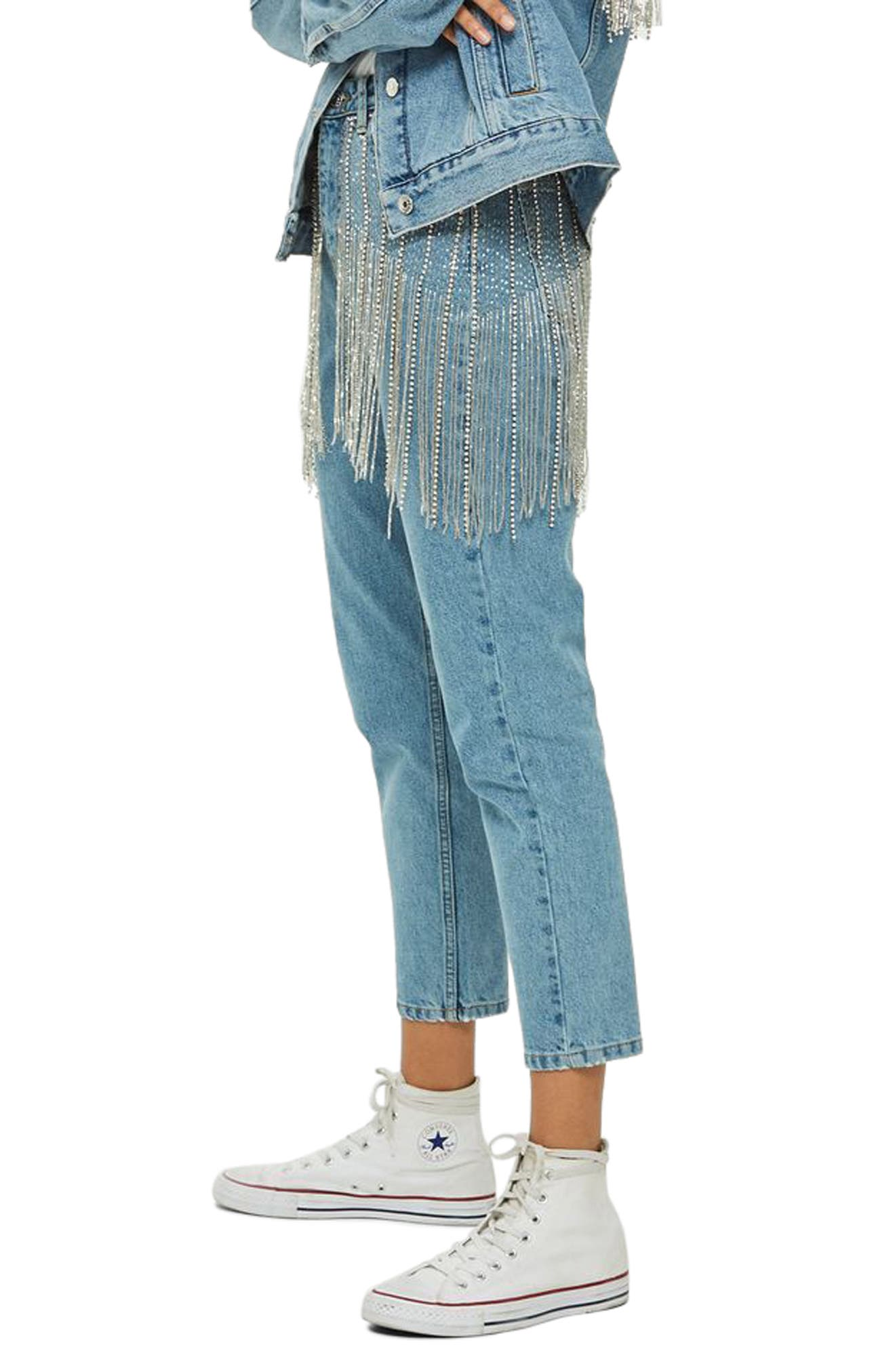 Diamante Crystal Fringe Mom Jeans,                             Alternate thumbnail 3, color,
