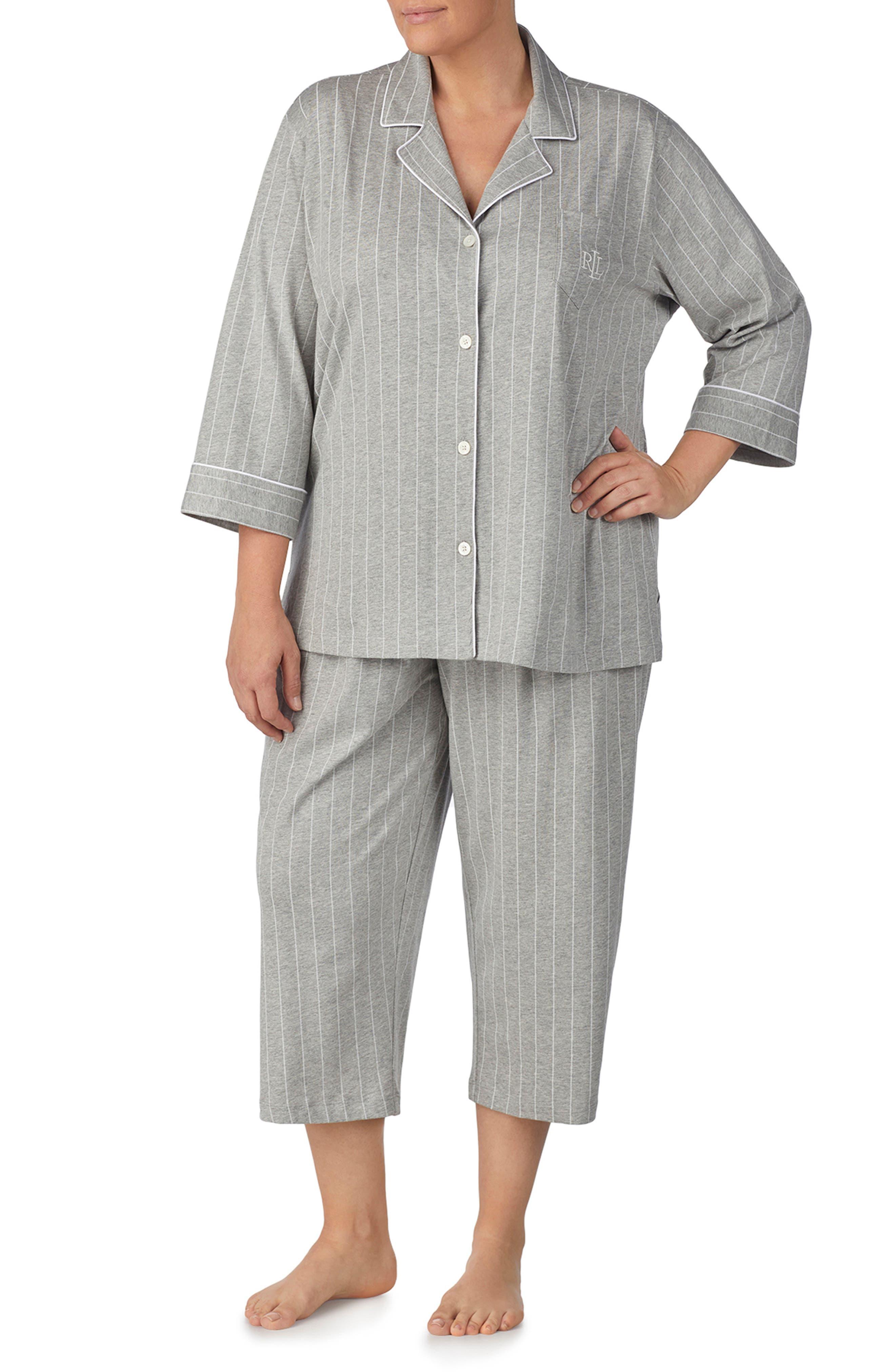 Knit Crop Pajamas,                             Alternate thumbnail 28, color,
