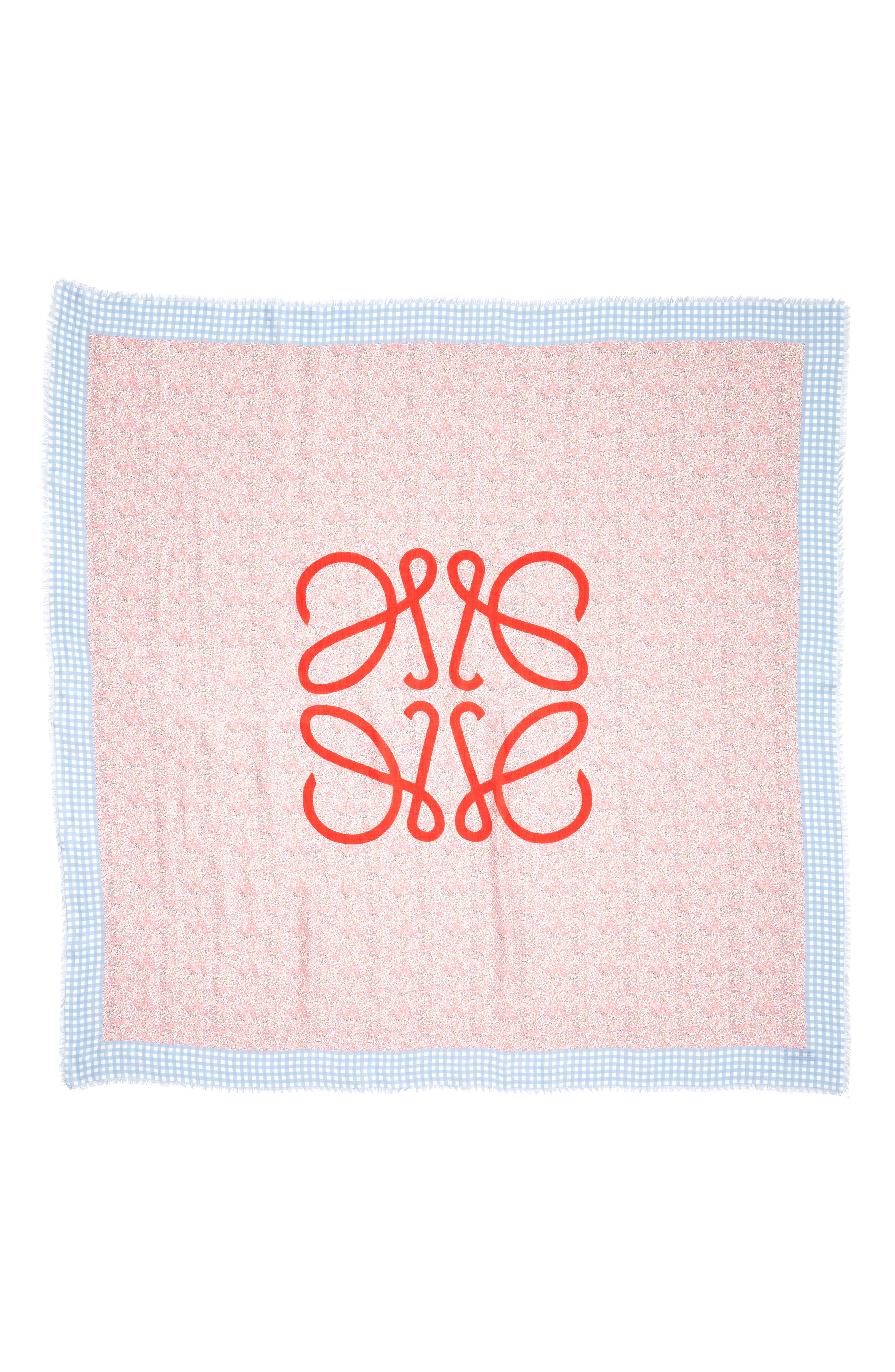 Liberty Gingham Scarf,                             Alternate thumbnail 3, color,                             PINK/ BLUE